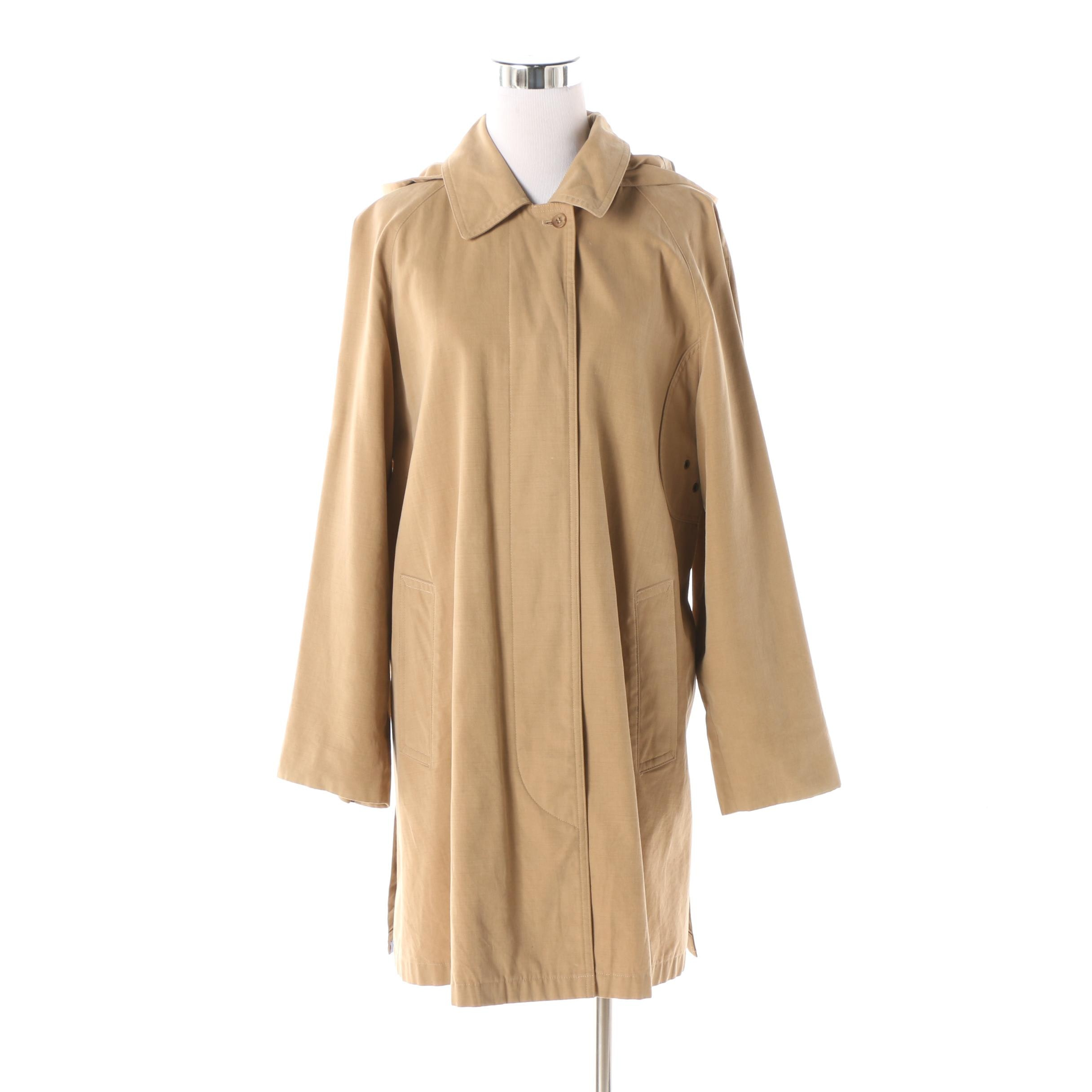 Women's 1980s Vintage Burberrys of London Khaki  Mid-Length Trench Coat