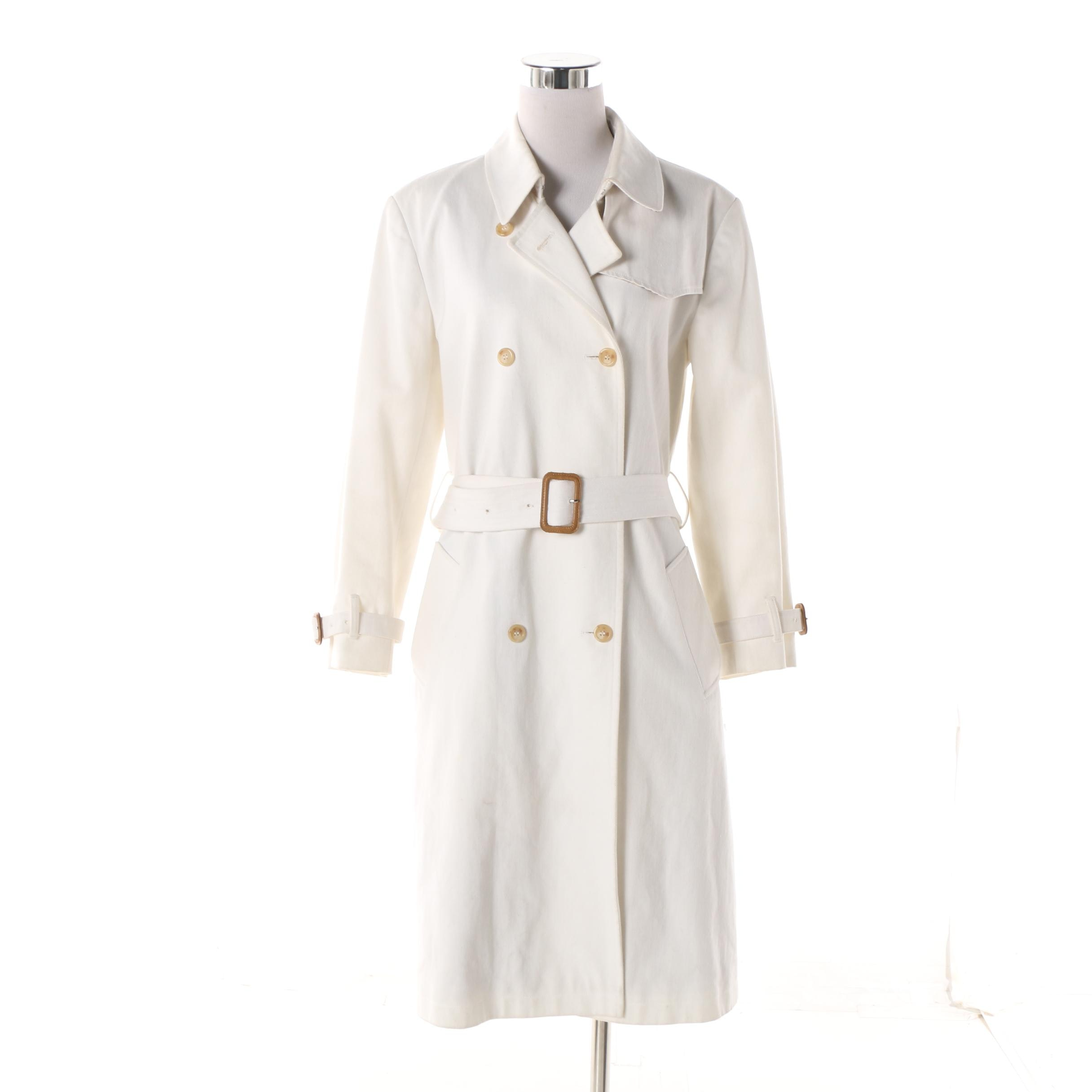 Women's Burberry London No. 59 White Double-Breasted Trench Coat