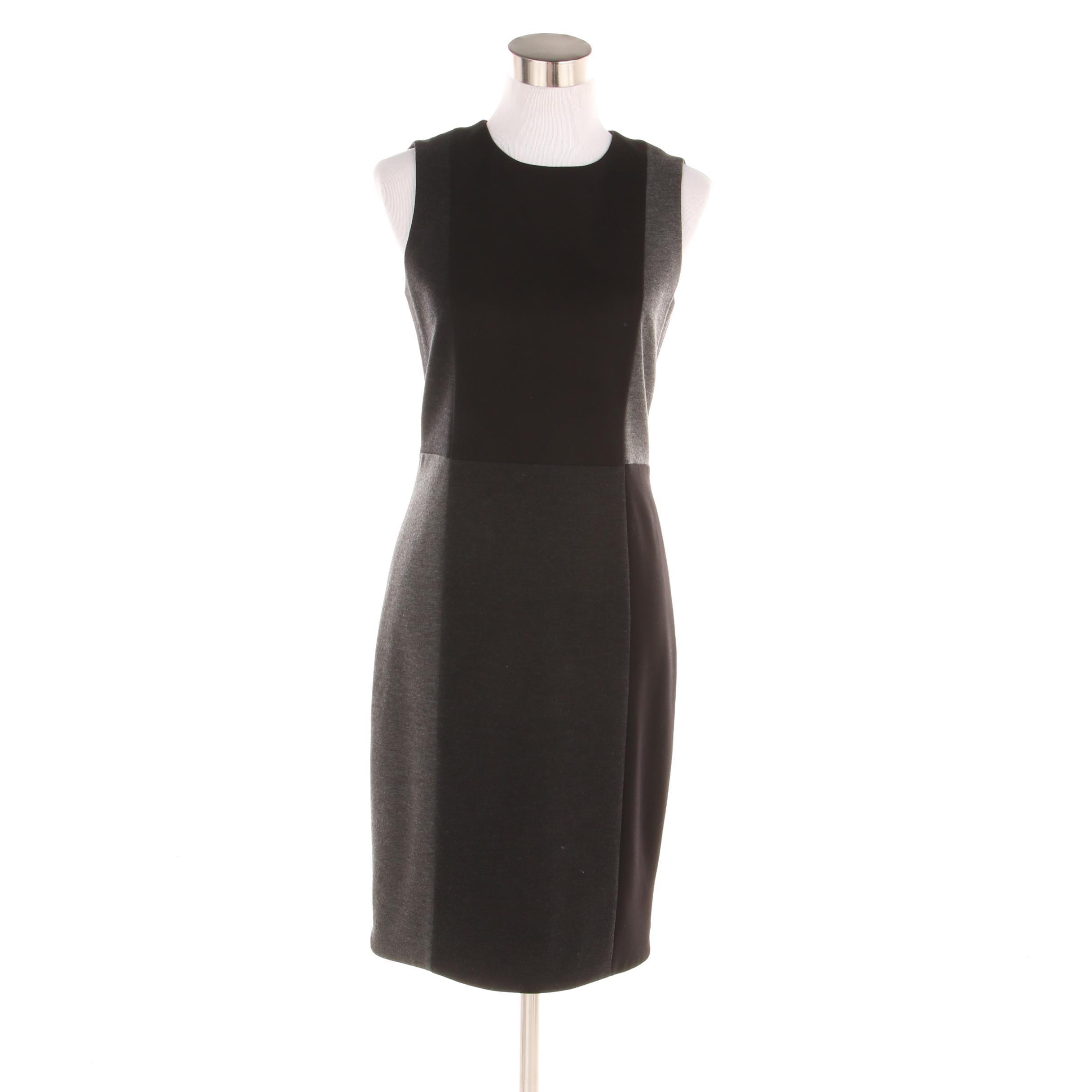 A-K-R-I-S Punto Sleeveless Black and Two-Tone Gray Colorblock Sheath Dress