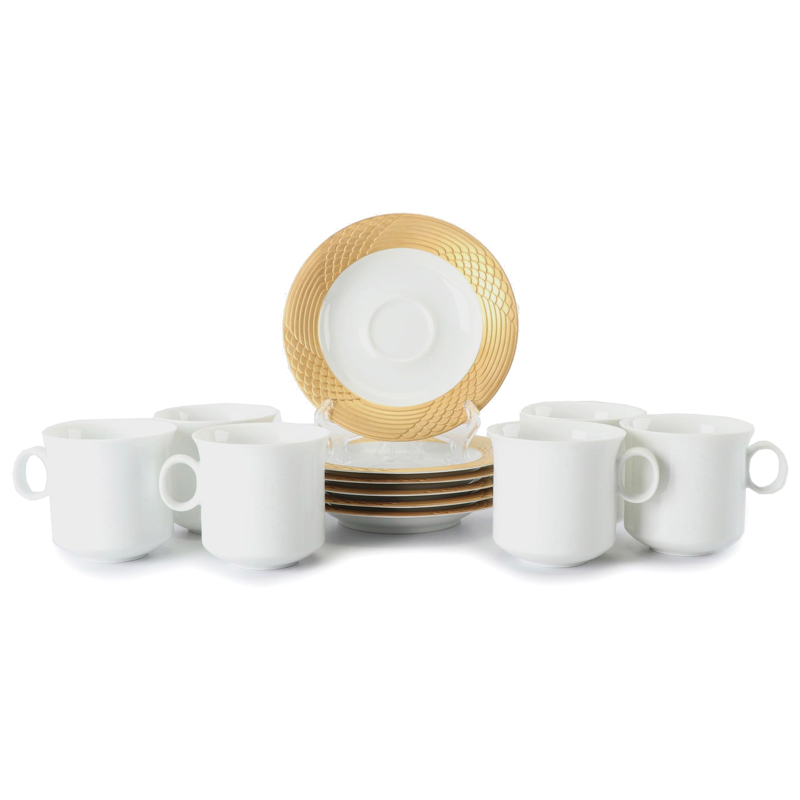 Hutschenreuther Porcelain Coffee Cups with Gilt Saucers