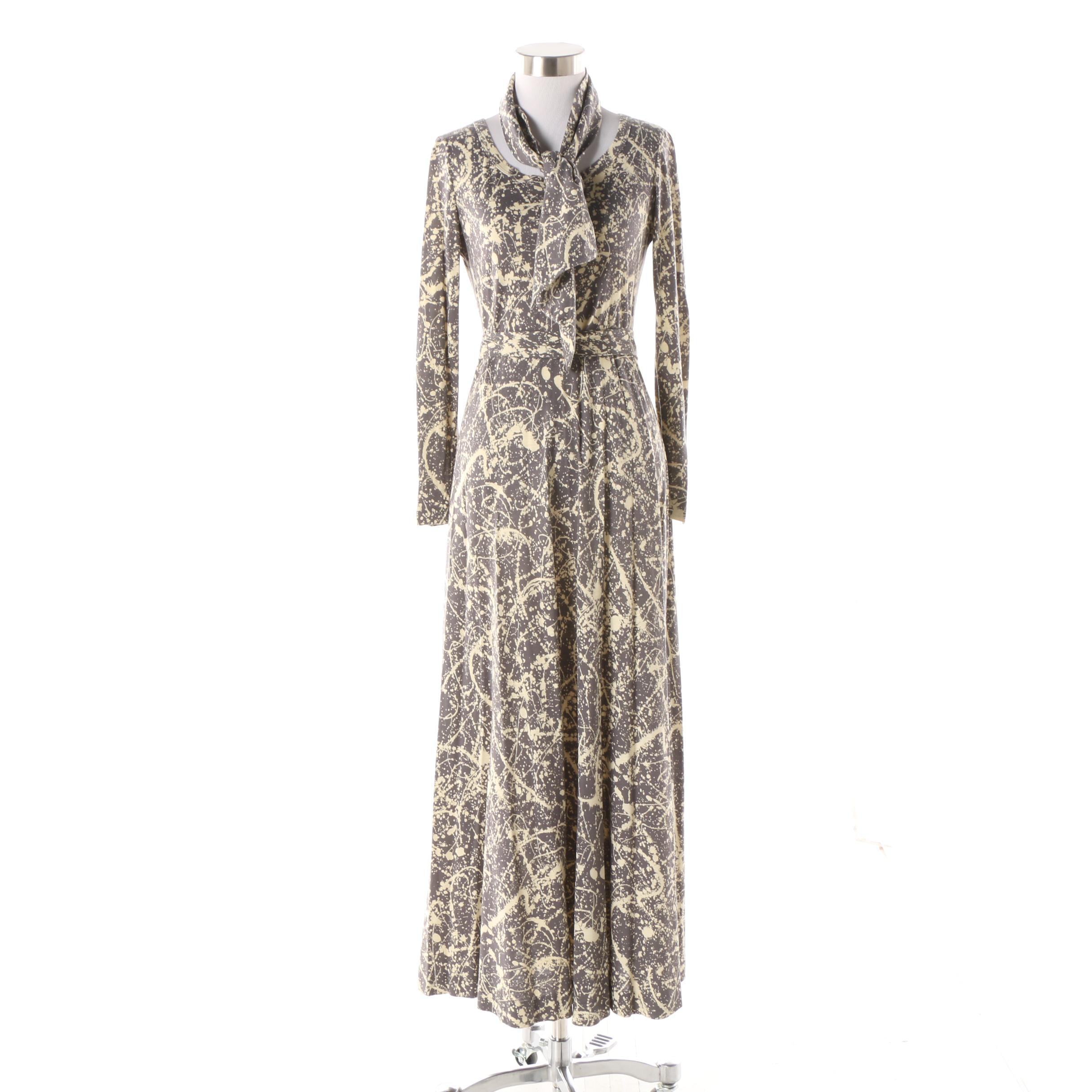 1970s Diane von Furstenberg Jackson Pollock-Inspired Paint Splatter Print Dress
