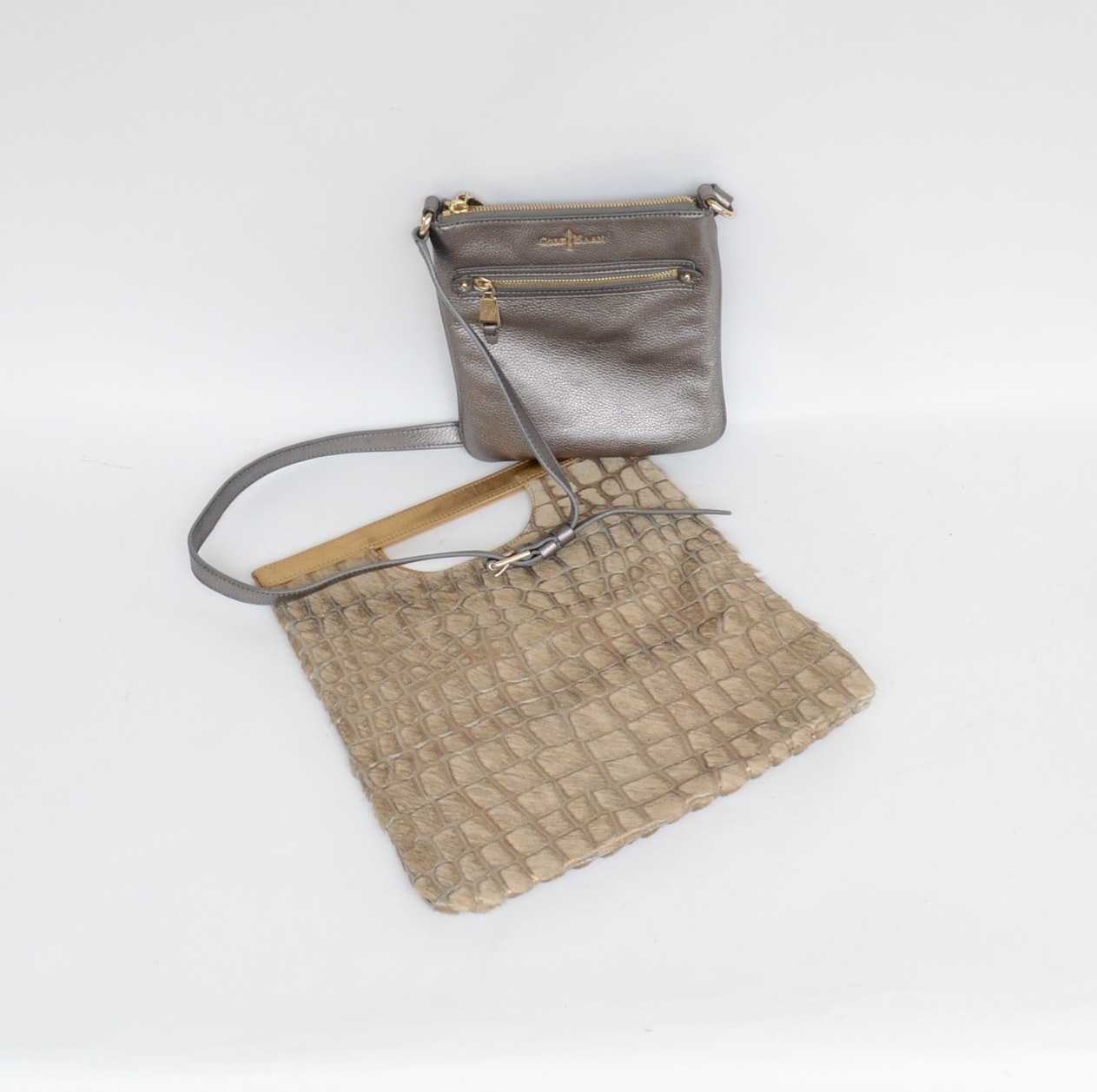 Nordstrom Embossed Calf Hair Bag and Cole Haan Silver Leather Crossbody