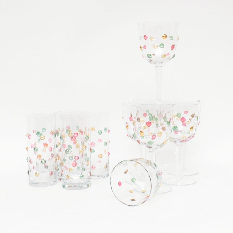 Confetti Glass Wine and Tom Collins Glasses