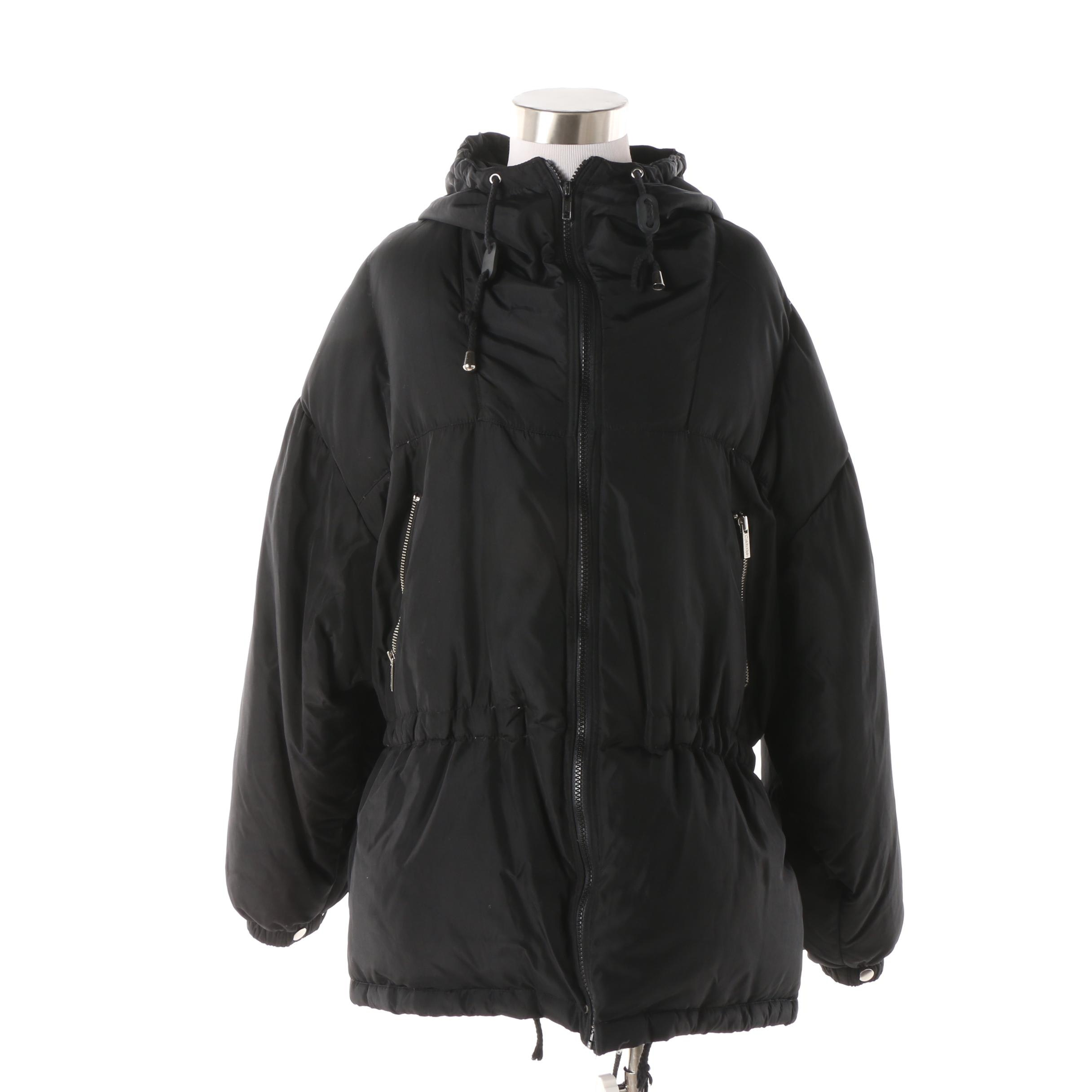 Calvin Klein Black Down Hooded Anorak Coat