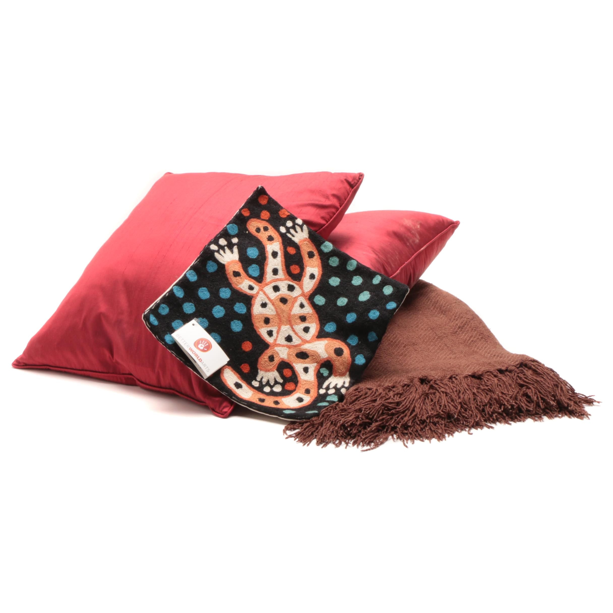 Decorative Pillows and Bamboo Blend Blanket