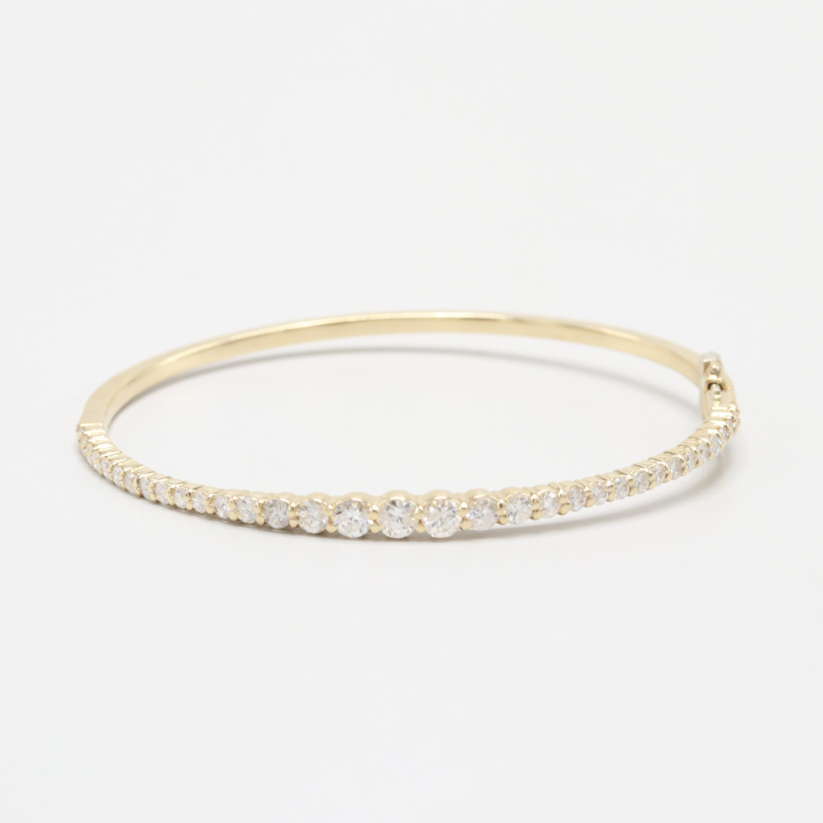 14K Yellow Gold 1.96 CTW Diamond Bangle Bracelet