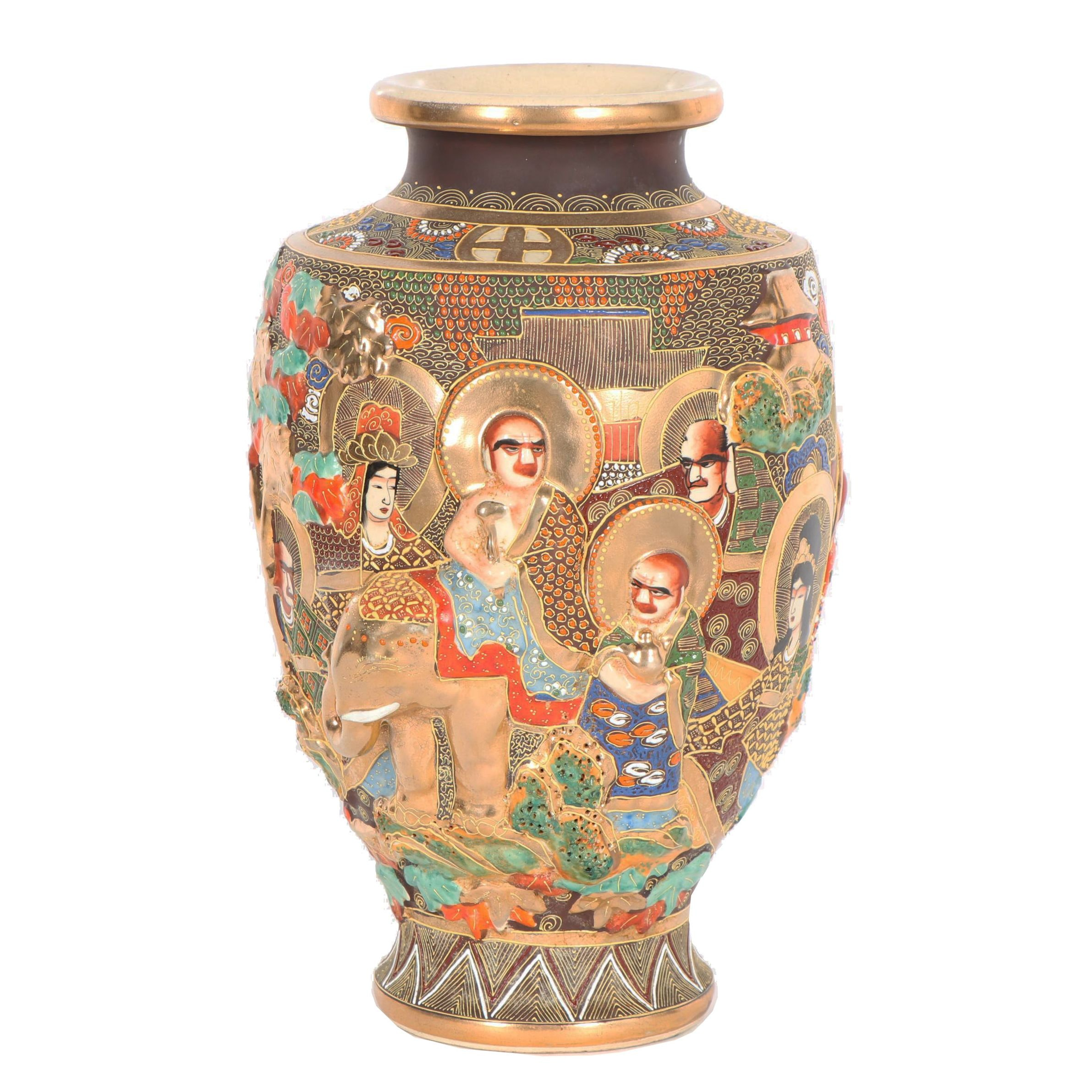 Japanese Satsuma Vase with High Relief Figurative Motifs