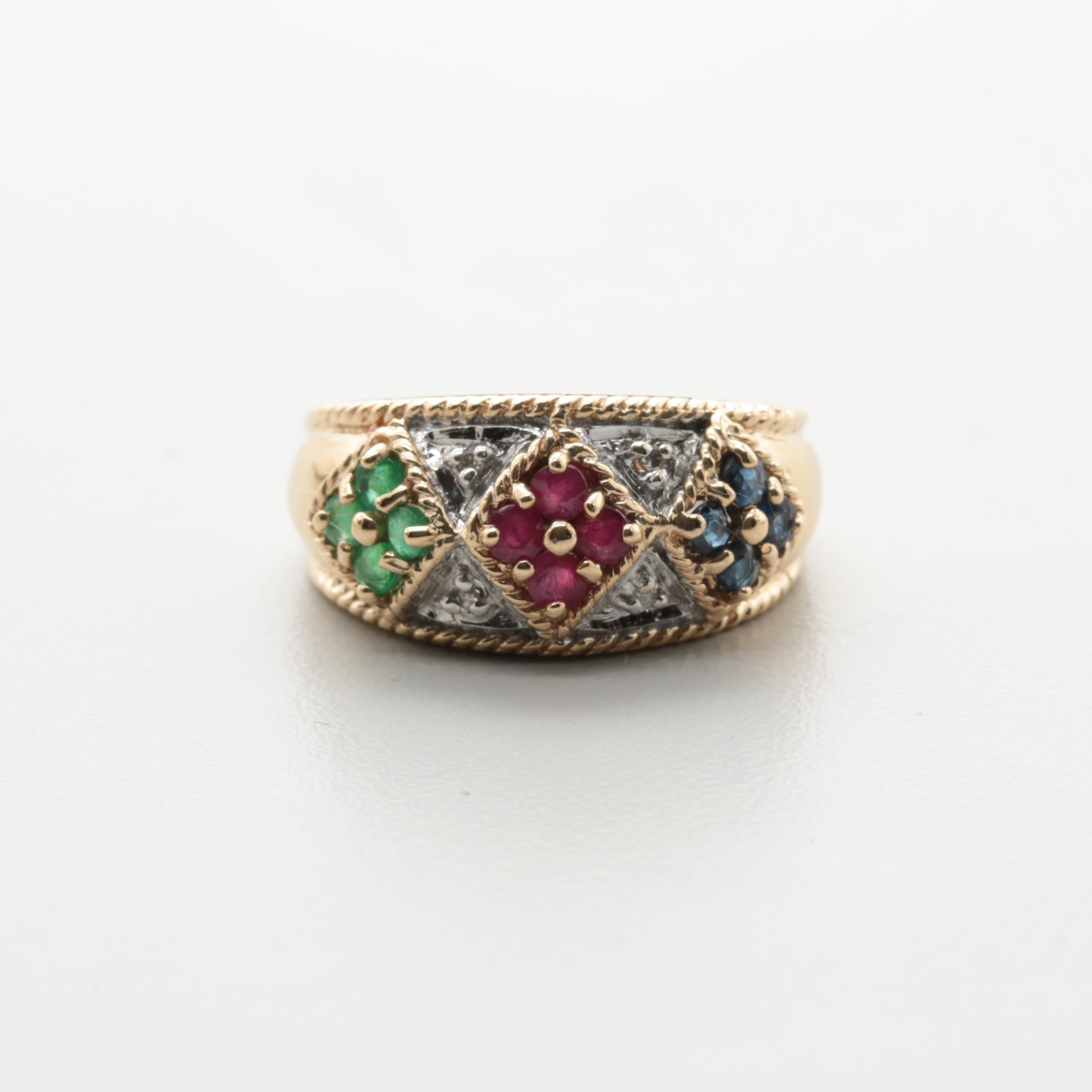 10K Yellow Gold Blue Sapphire, Ruby, Emerald and Diamond Ring