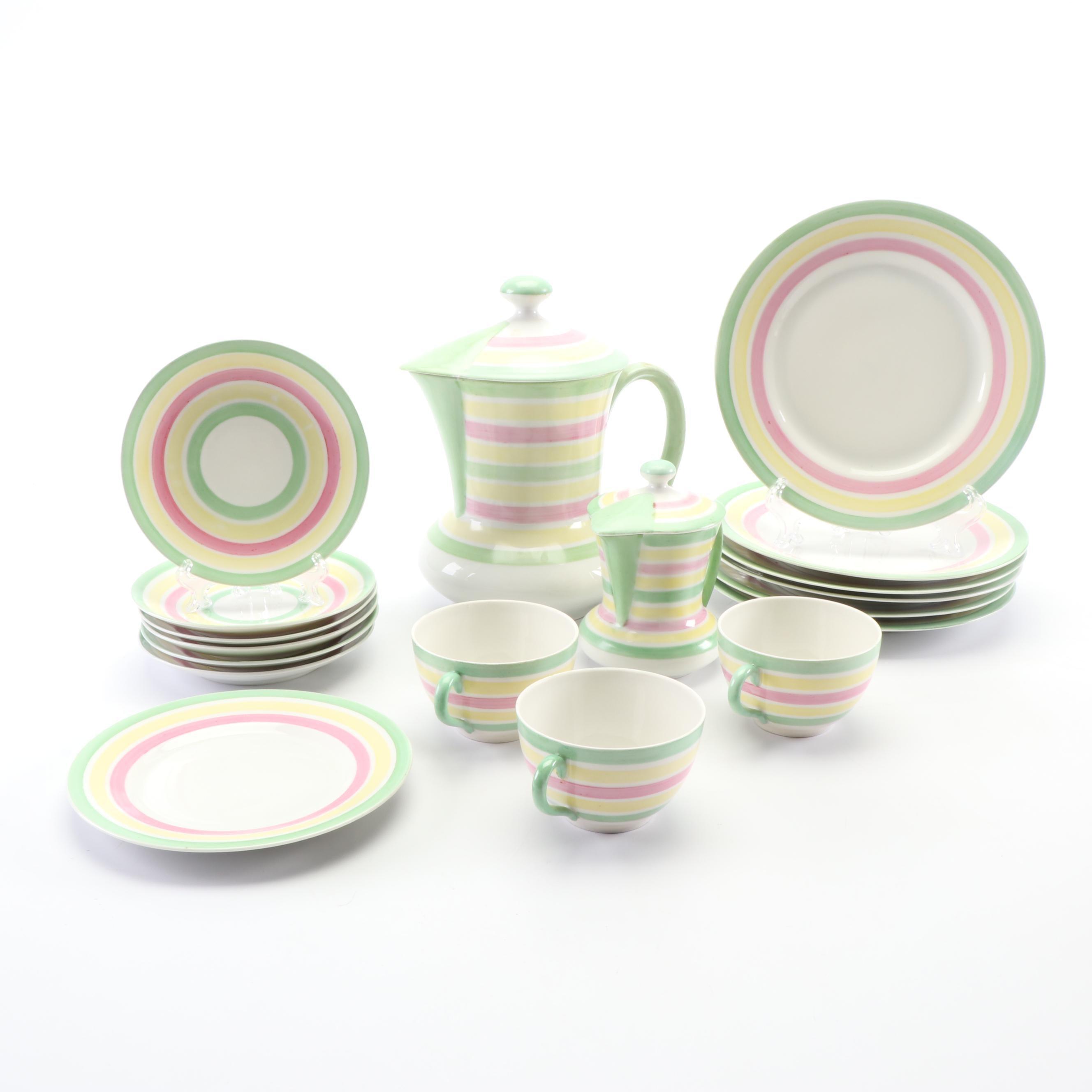 Czechoslovakian Striped Ceramic Coffee Set
