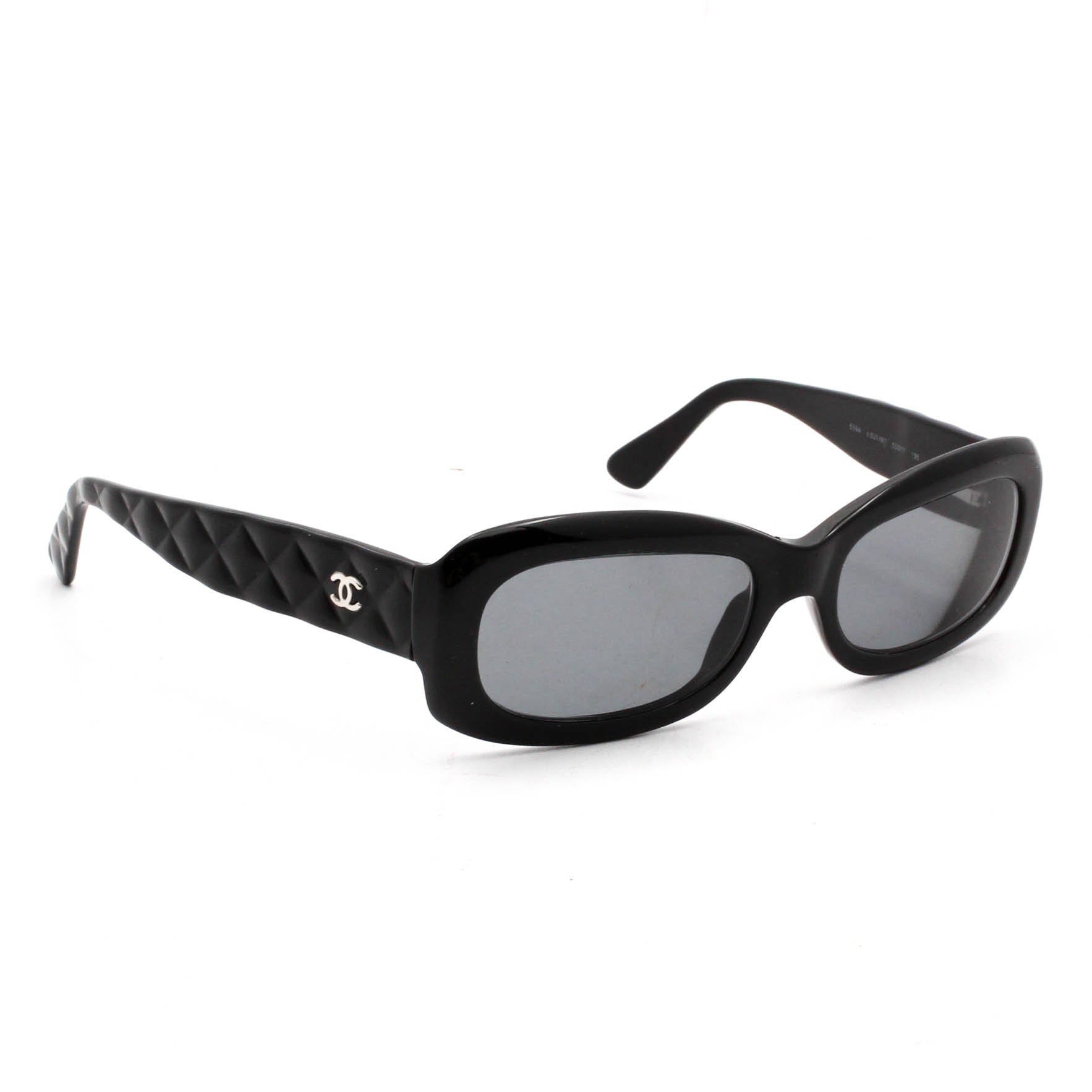 Chanel Quilted Stem Black Sunglasses