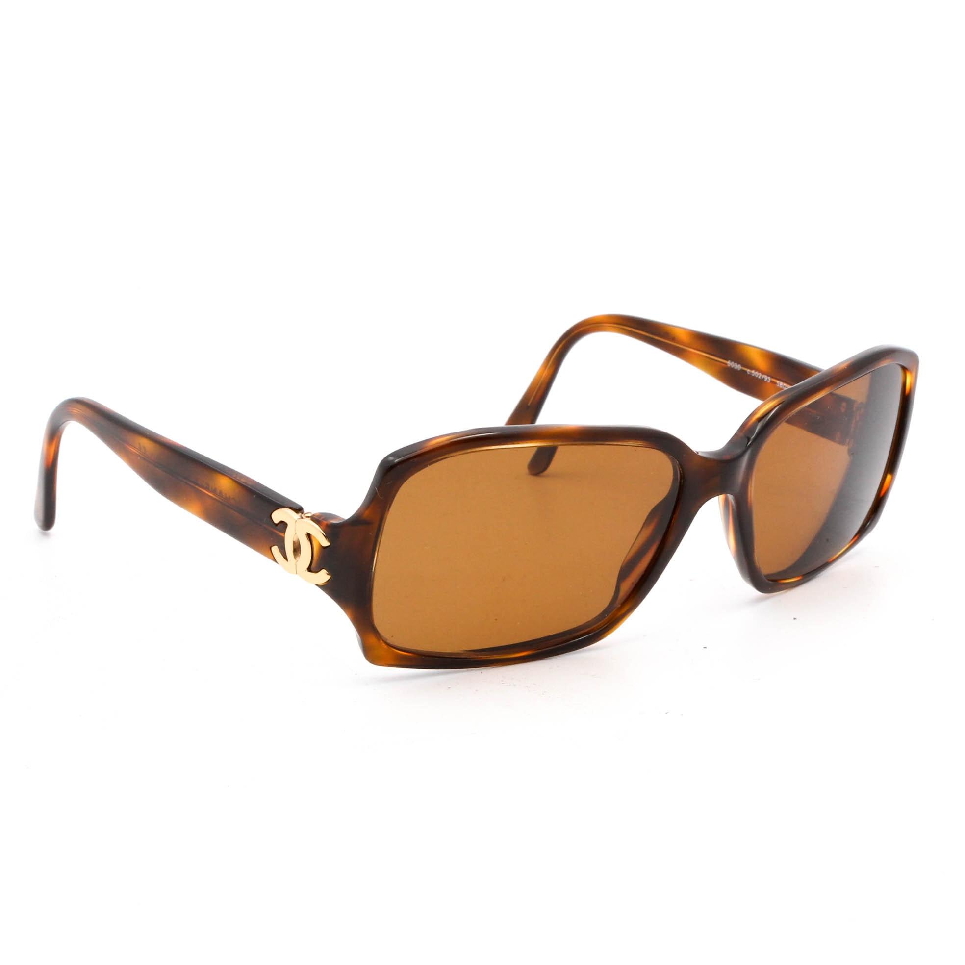 Chanel Tortoise Shell-Style Sunglasses