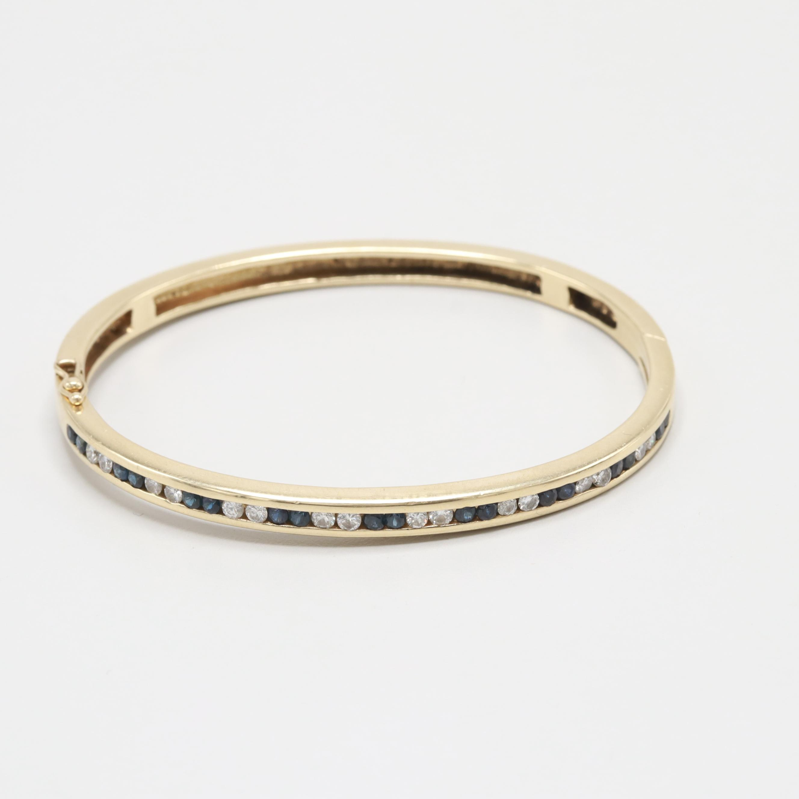 14K Yellow Gold Diamond and Blue Sapphire Hinged Bangle Bracelet