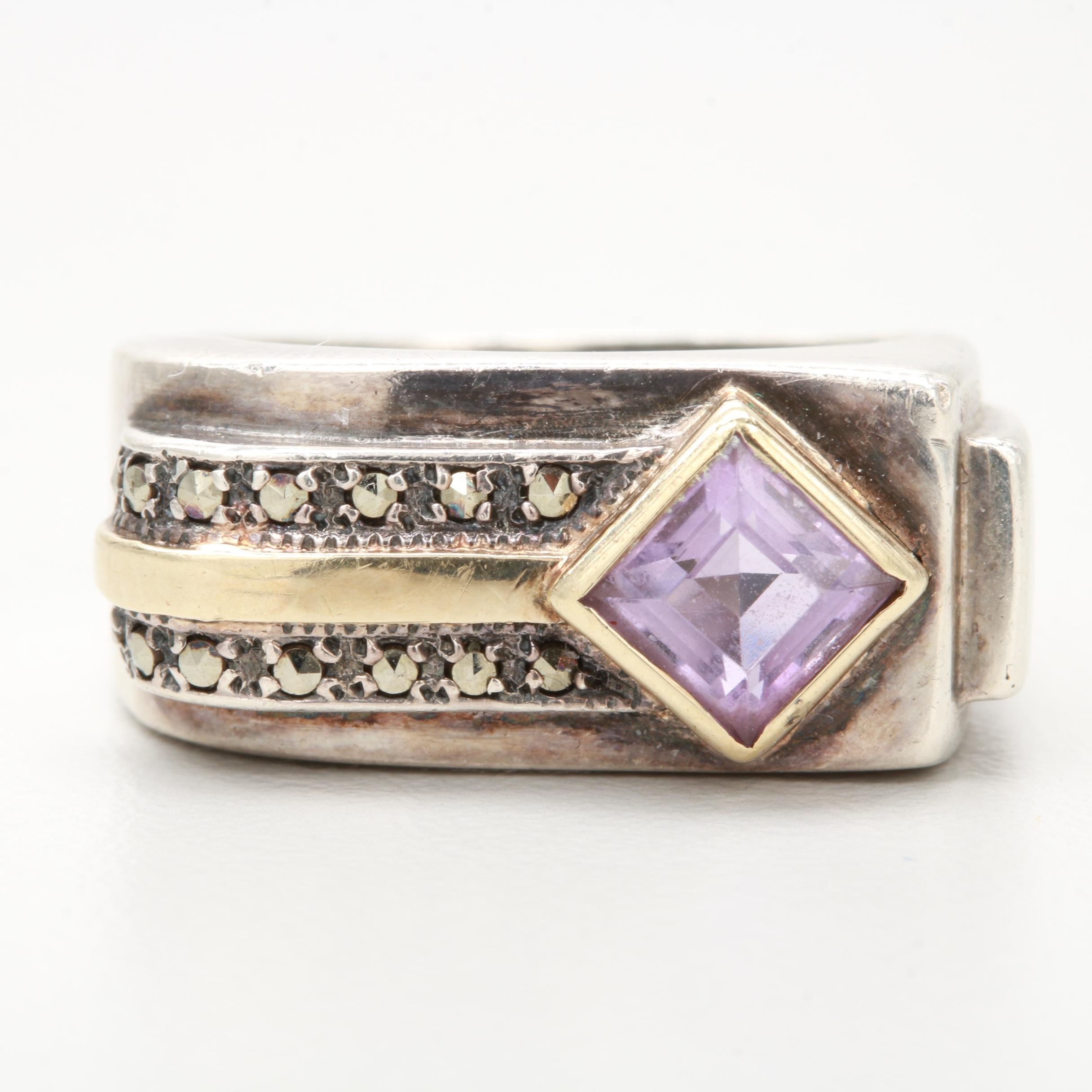 Sterling Silver Amethyst and Marcasite Ring with 14K Yellow Gold Accents
