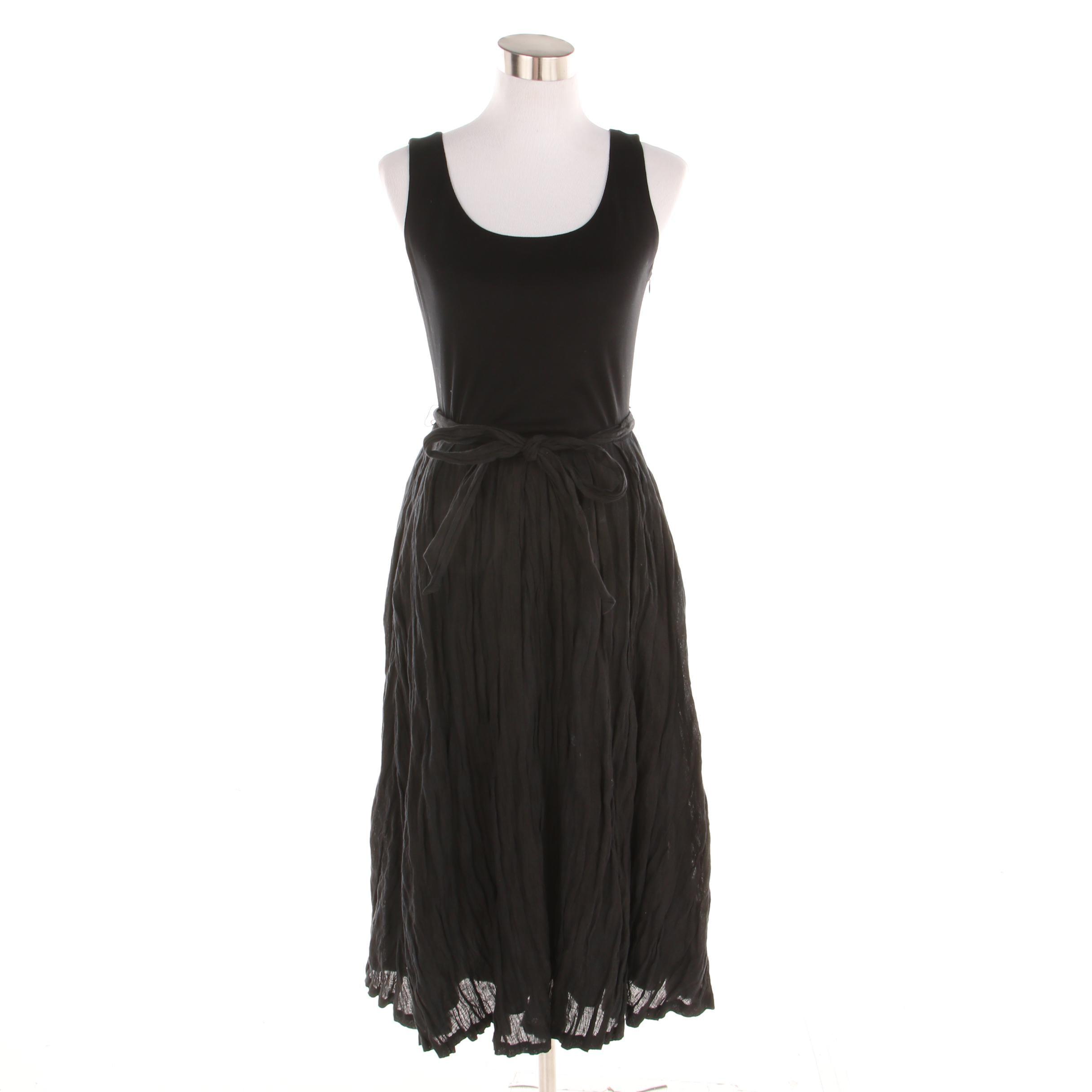 Lafayette 148 Black Linen and Cotton Blend Sleeveless Dress