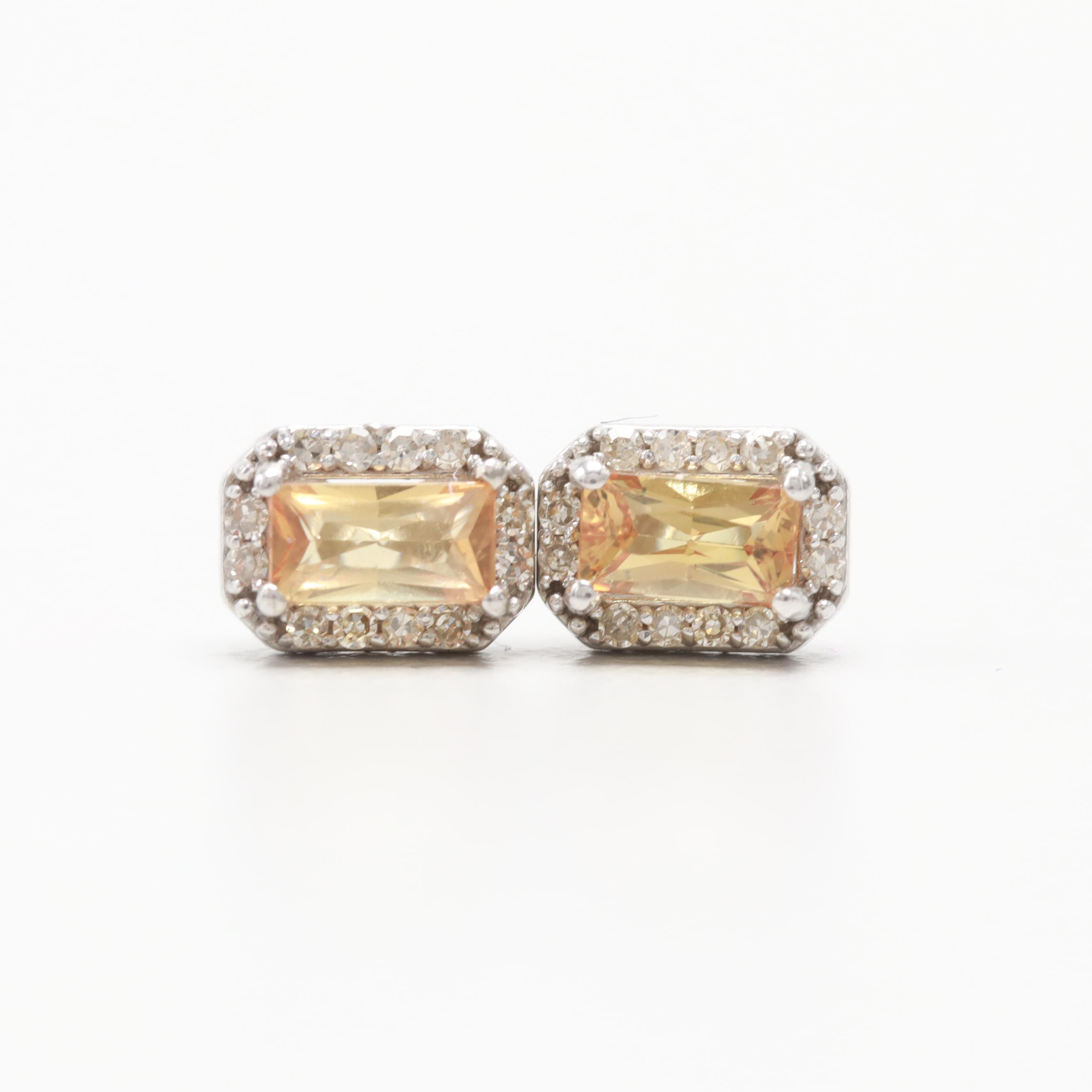 14K Yellow Gold Topaz and Diamond Stud Earrings