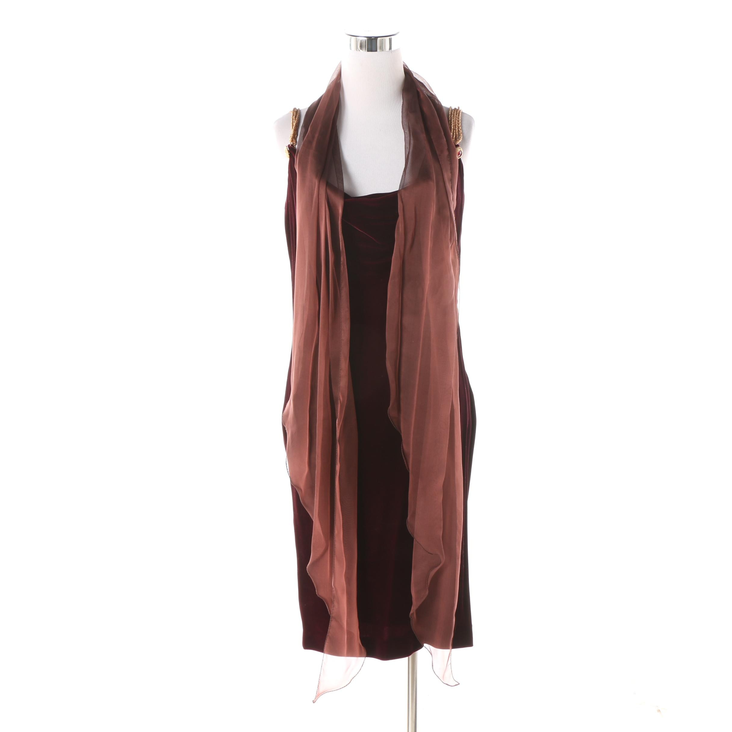 Circa 1980s Anne Klein Maroon Velvet Cocktail Dress and Coordinating Wrap
