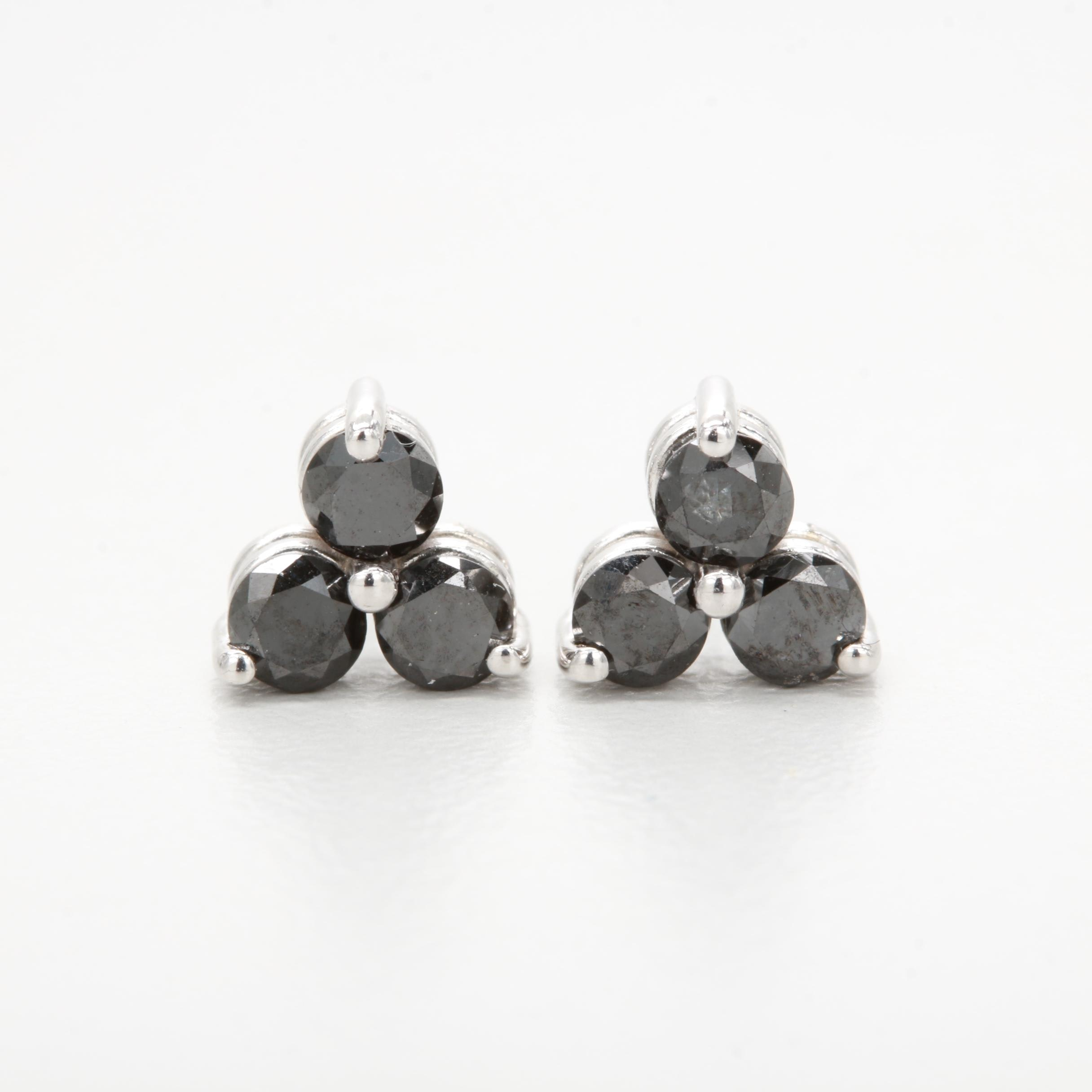 14K White Gold Black Diamond Stud Earrings