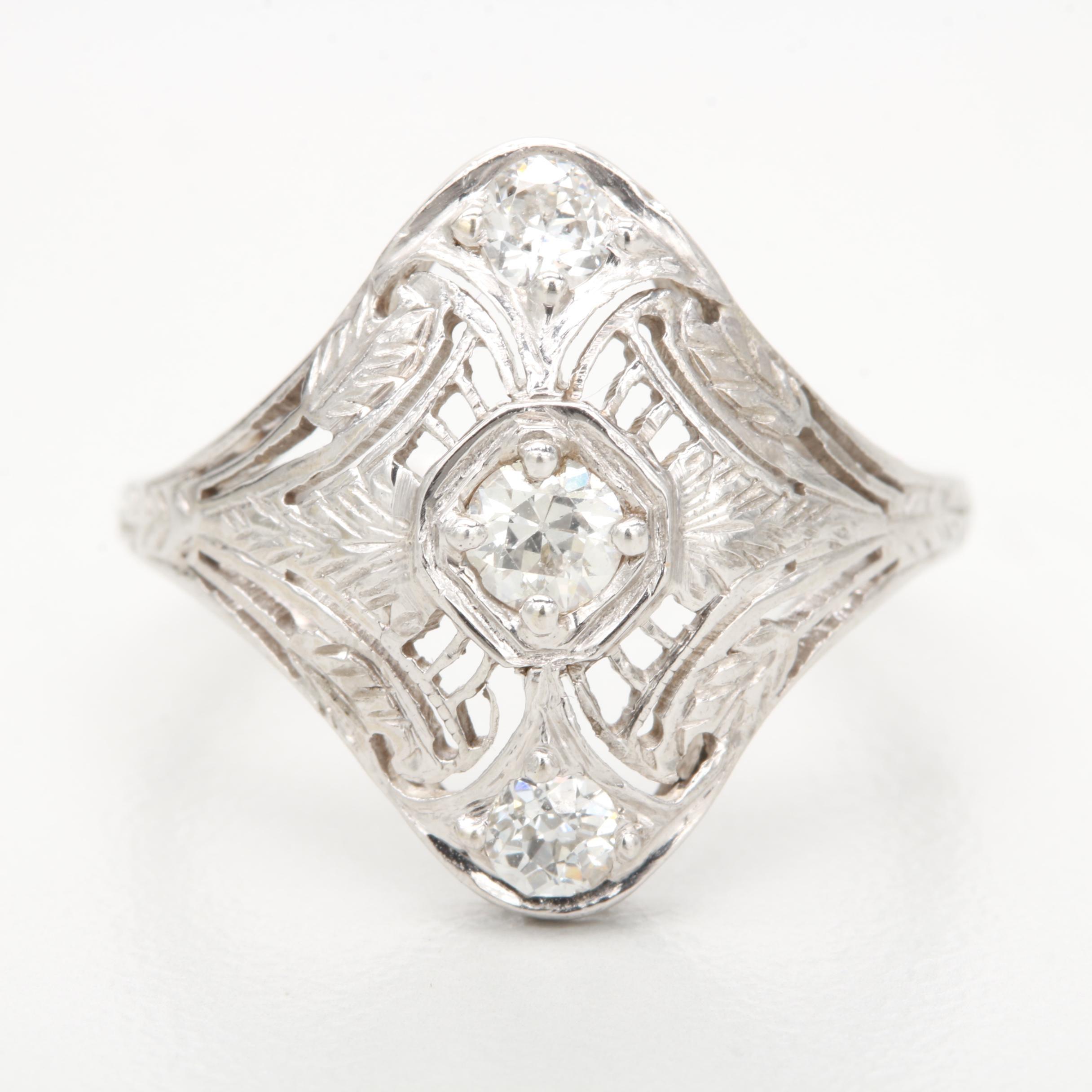 Edwardian 14K White Gold Old European Cut Diamond Ring