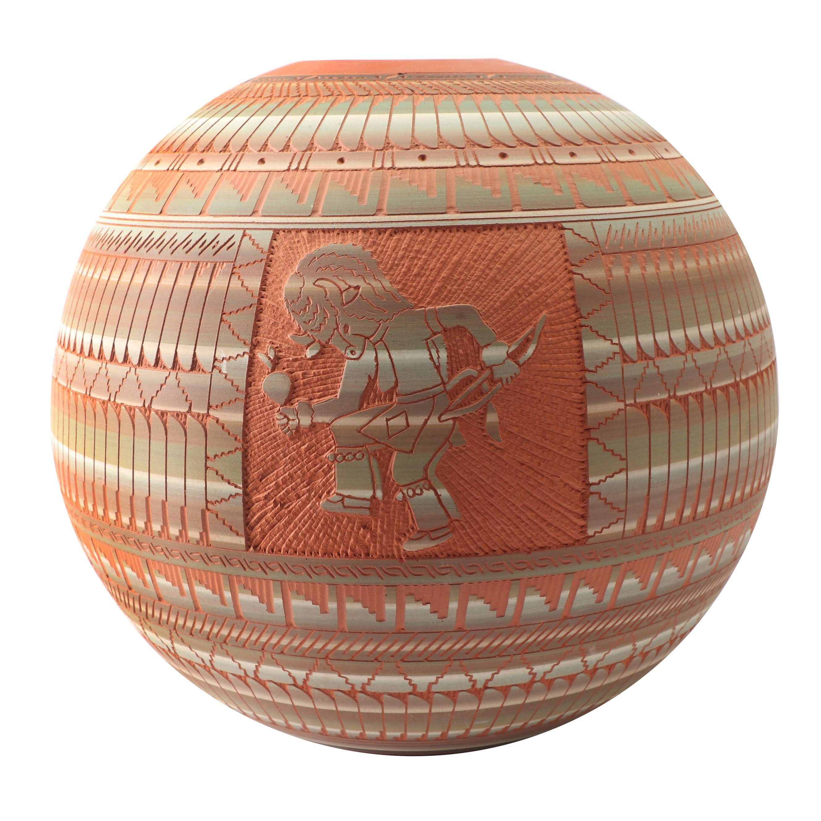 Billy Dennison Navajo Carved Earthenware Seed Pot