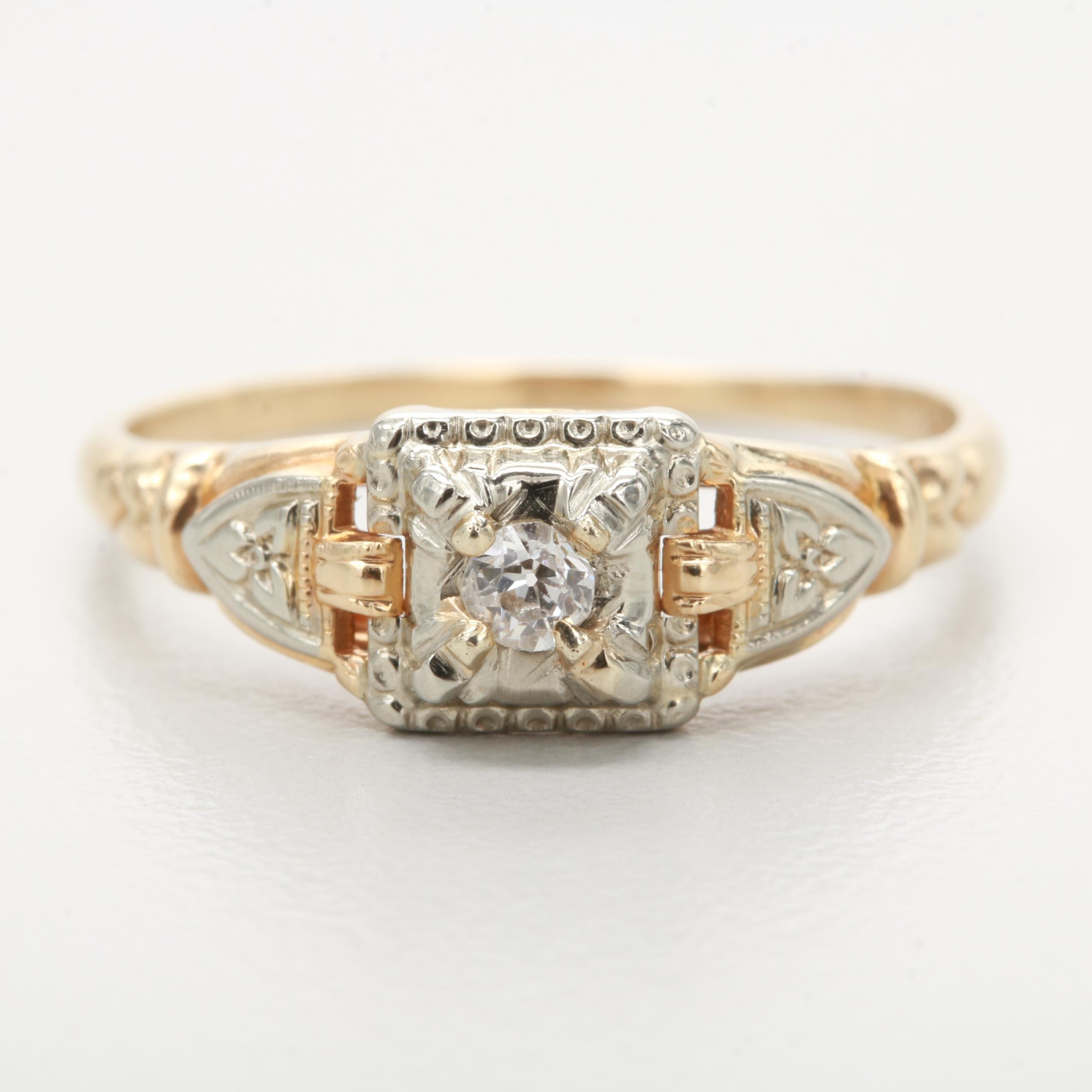 14K Yellow Gold Diamond Ring with 18K White Gold Trim
