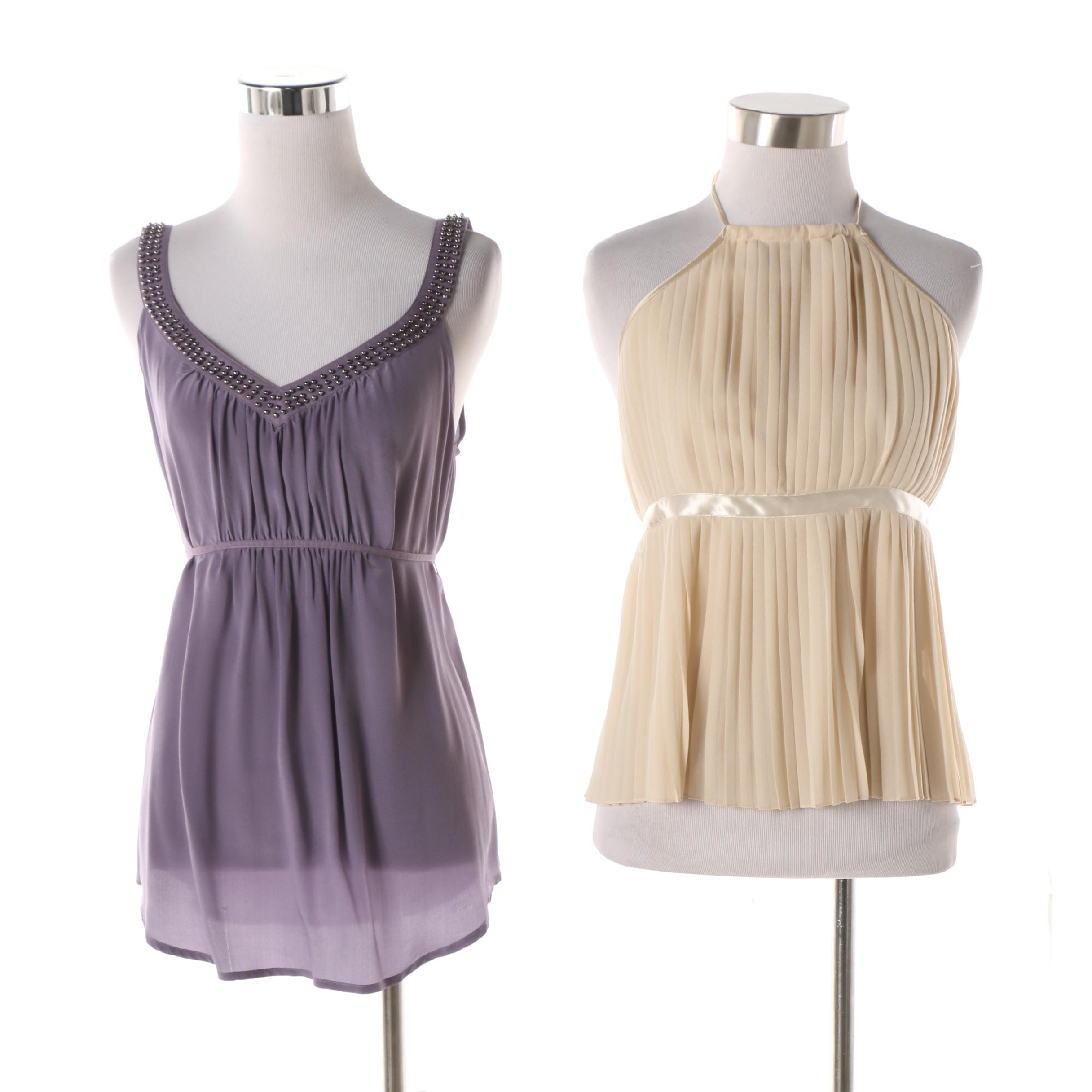 Saks Fifth Avenue Cream Pleated Halter Top and Ecoté Bead Accented Purple Tunic