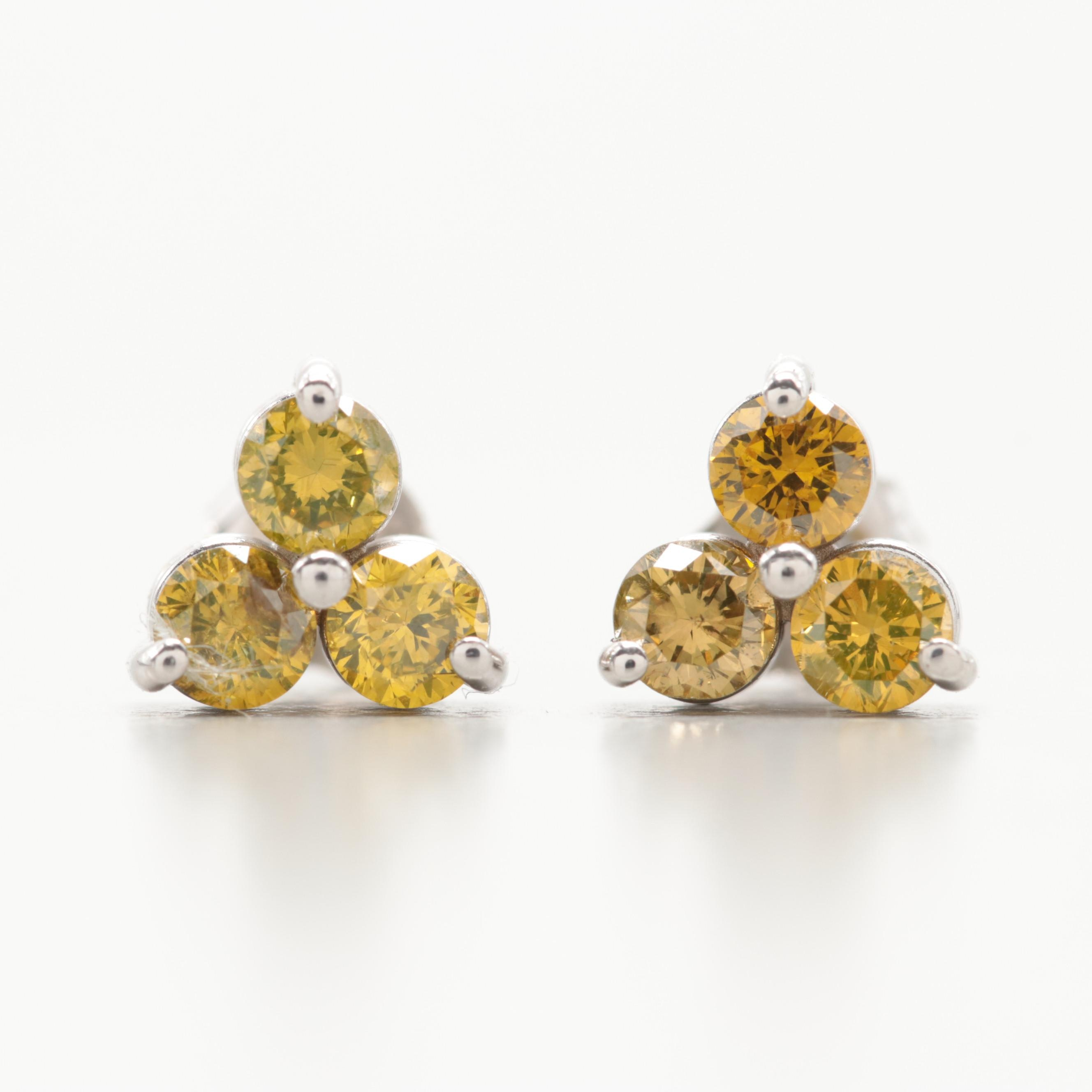 14K White Gold  Yellow Diamond Earrings