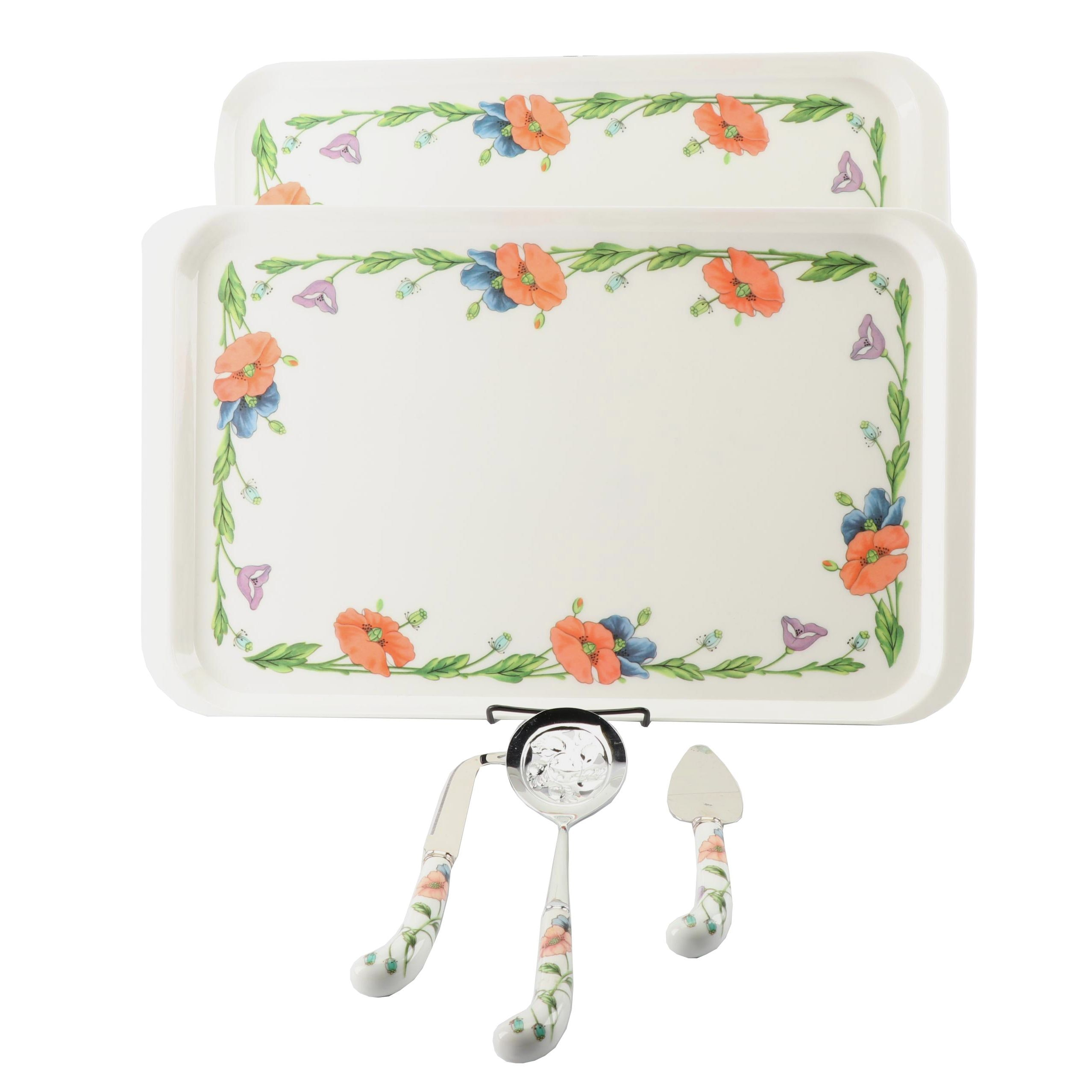"""Villeroy & Boch """"Amapola"""" Serving Trays with Prill Serving Utensils"""