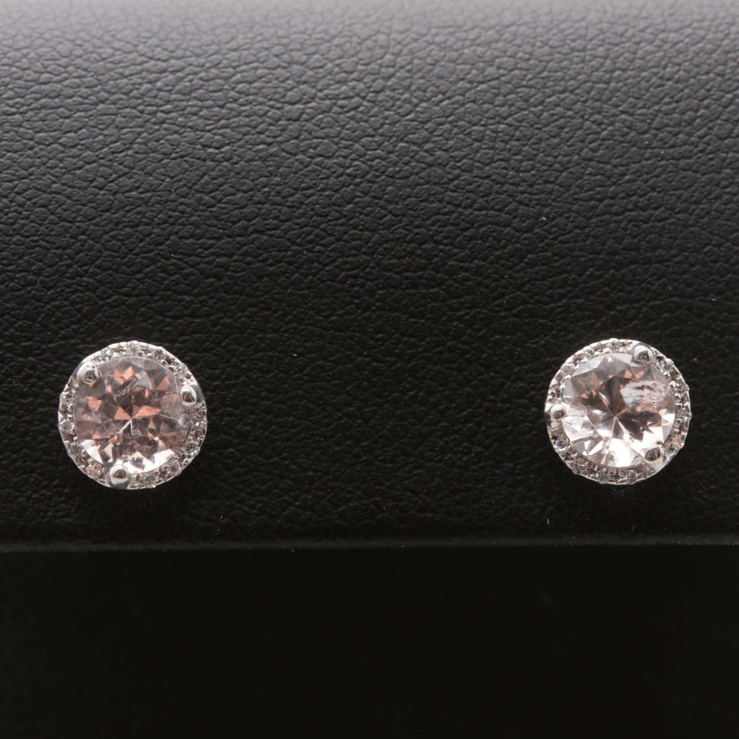 14K White Gold Morganite and Diamond Stud Earrings