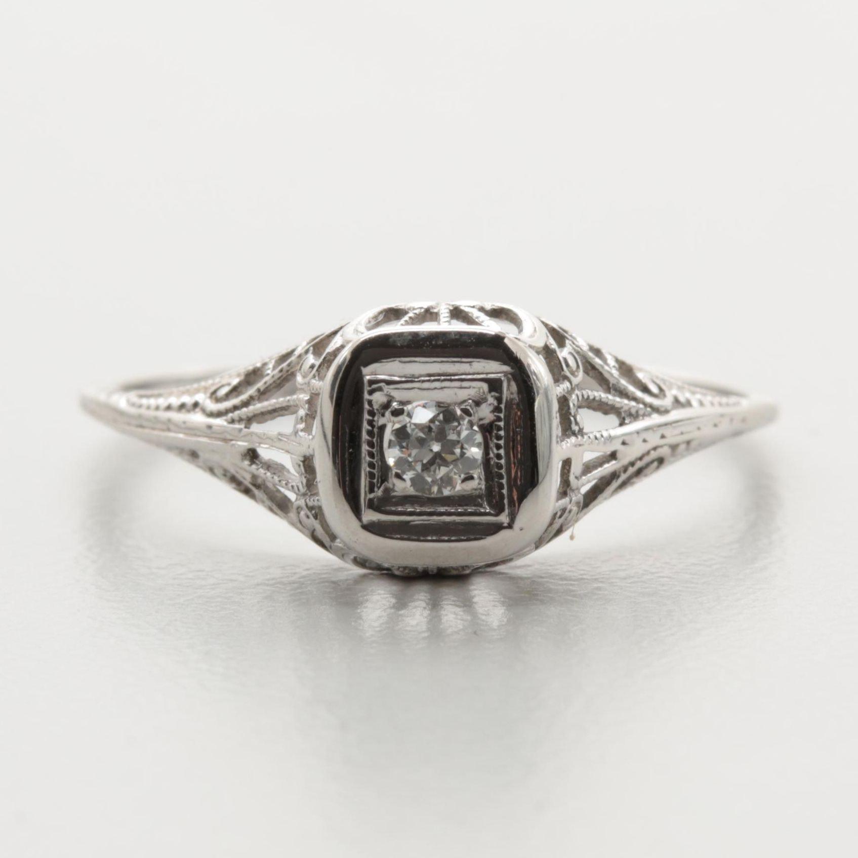 18K White Gold Old European Diamond Ring