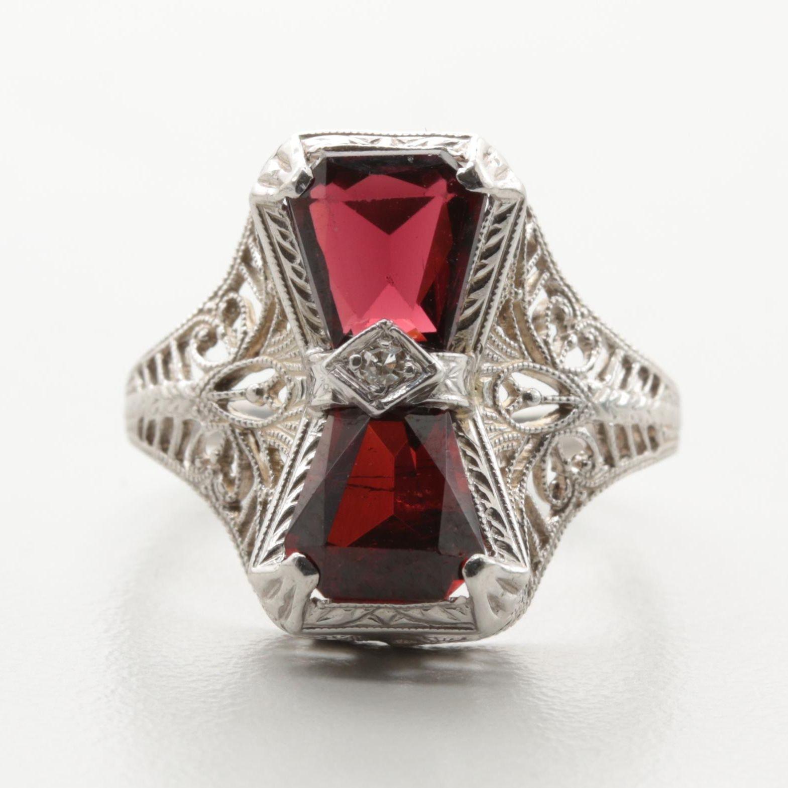 Art Deco 14K White Gold Garnet and Diamond Ring
