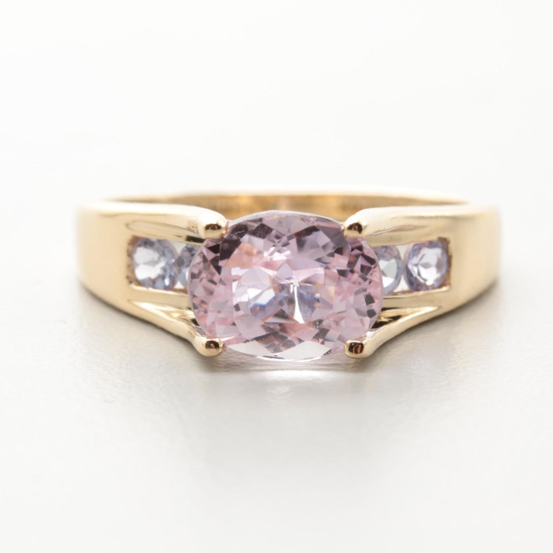 14K Yellow Gold 2.08 CT Kunzite and Tanzanite Ring