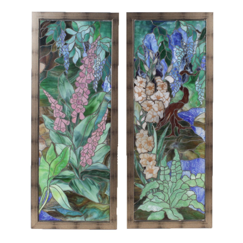 Stained and Painted Glass Floral Panels with Elves