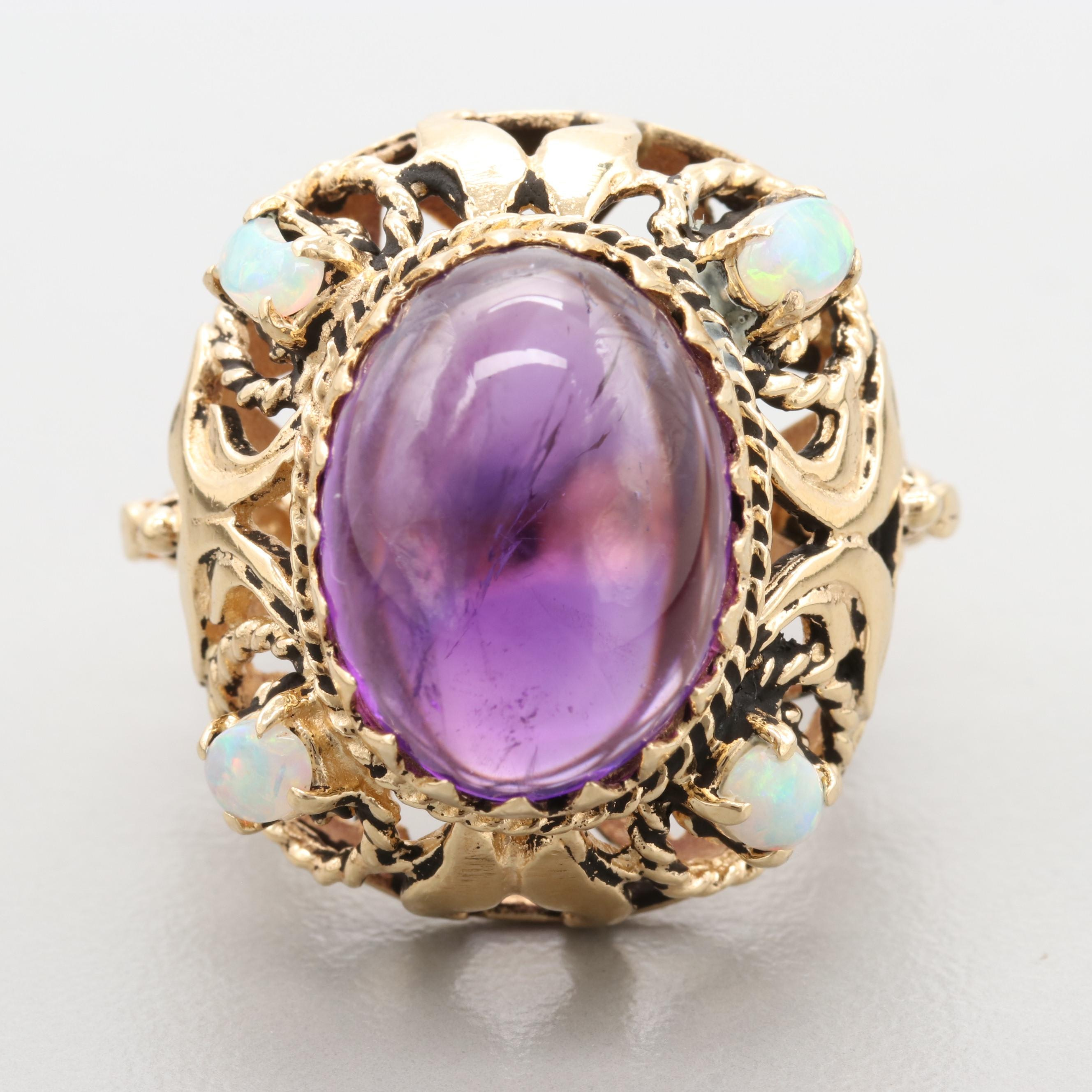 14K Yellow Gold Amethyst and Opal Ring