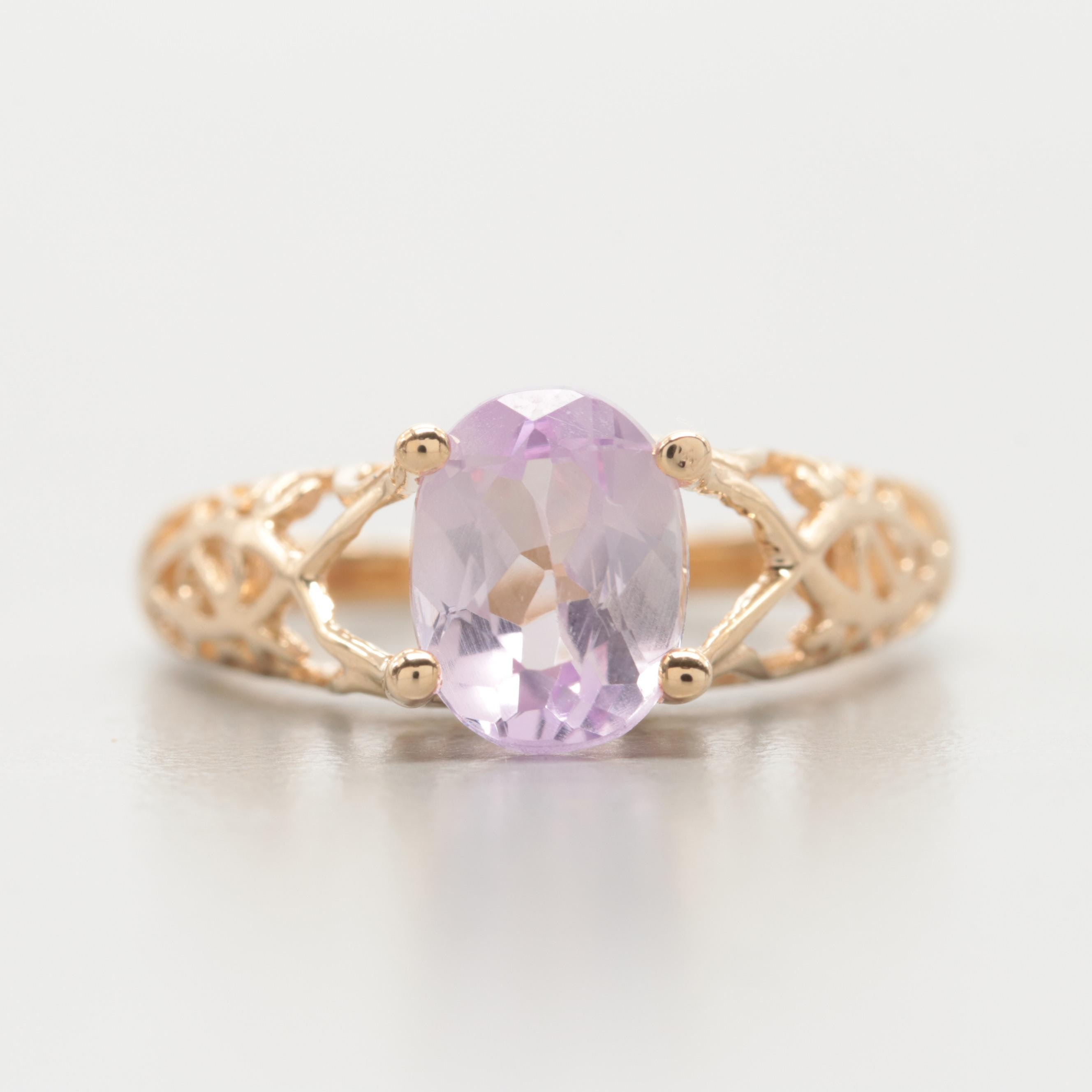 10K Yellow Gold Kunzite Ring