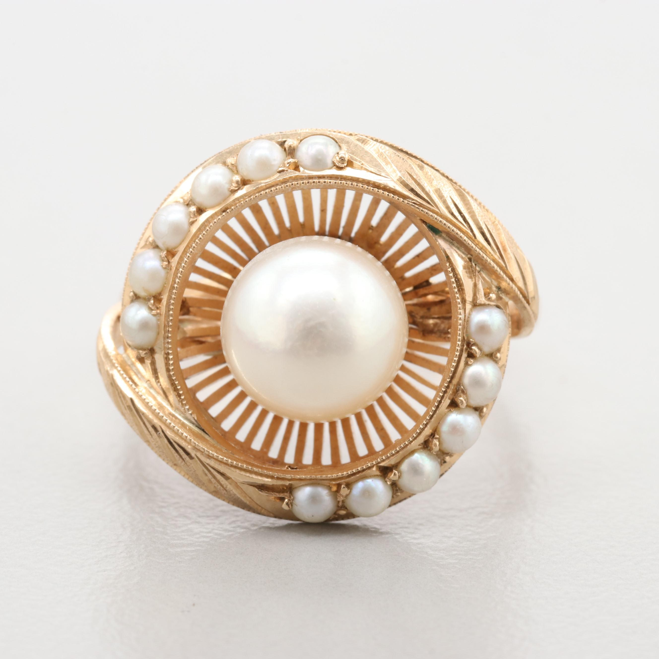 Vintage 14K Rose Gold Cultured Pearl and Seed Pearl Ring