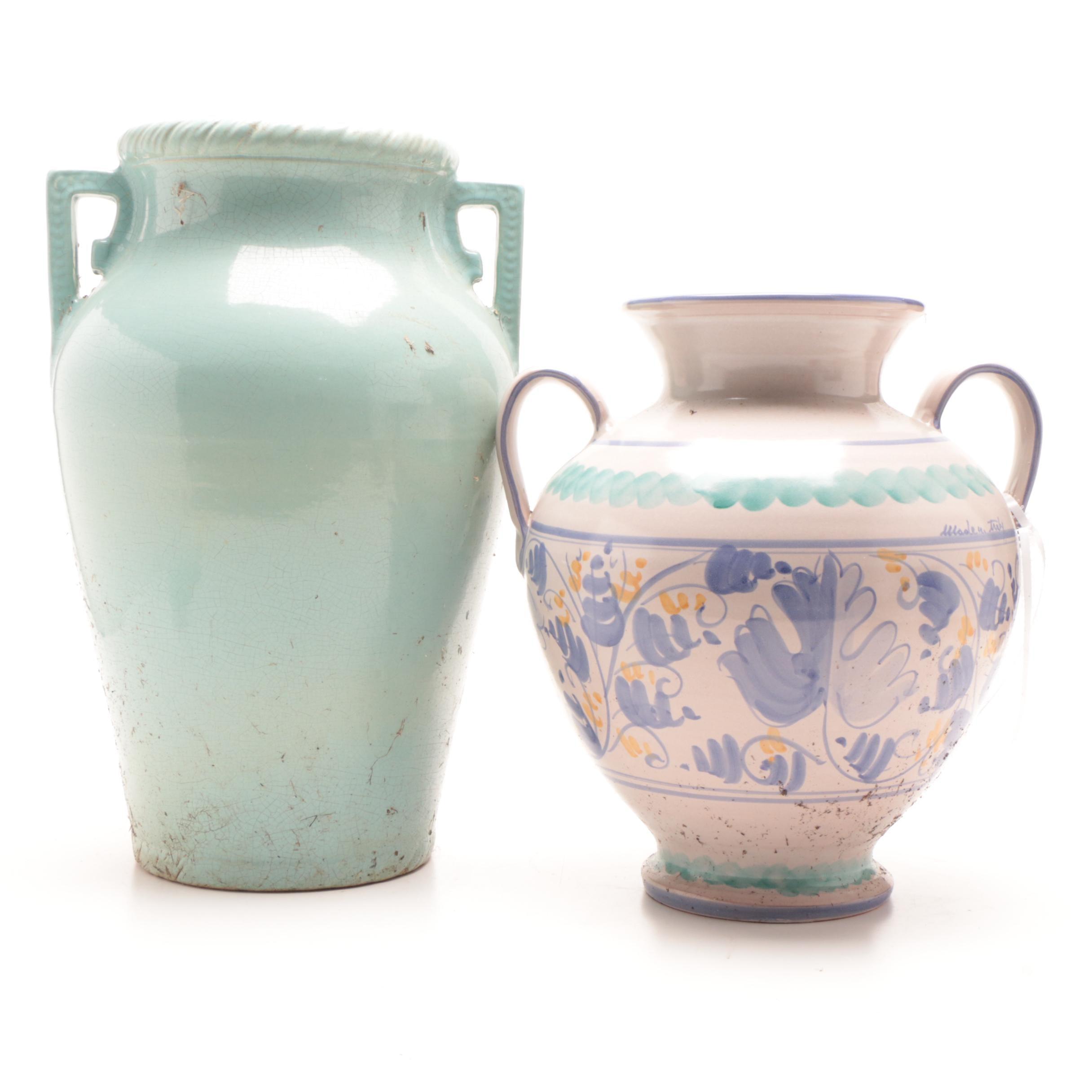 Vintage Handled Ceramic Urns