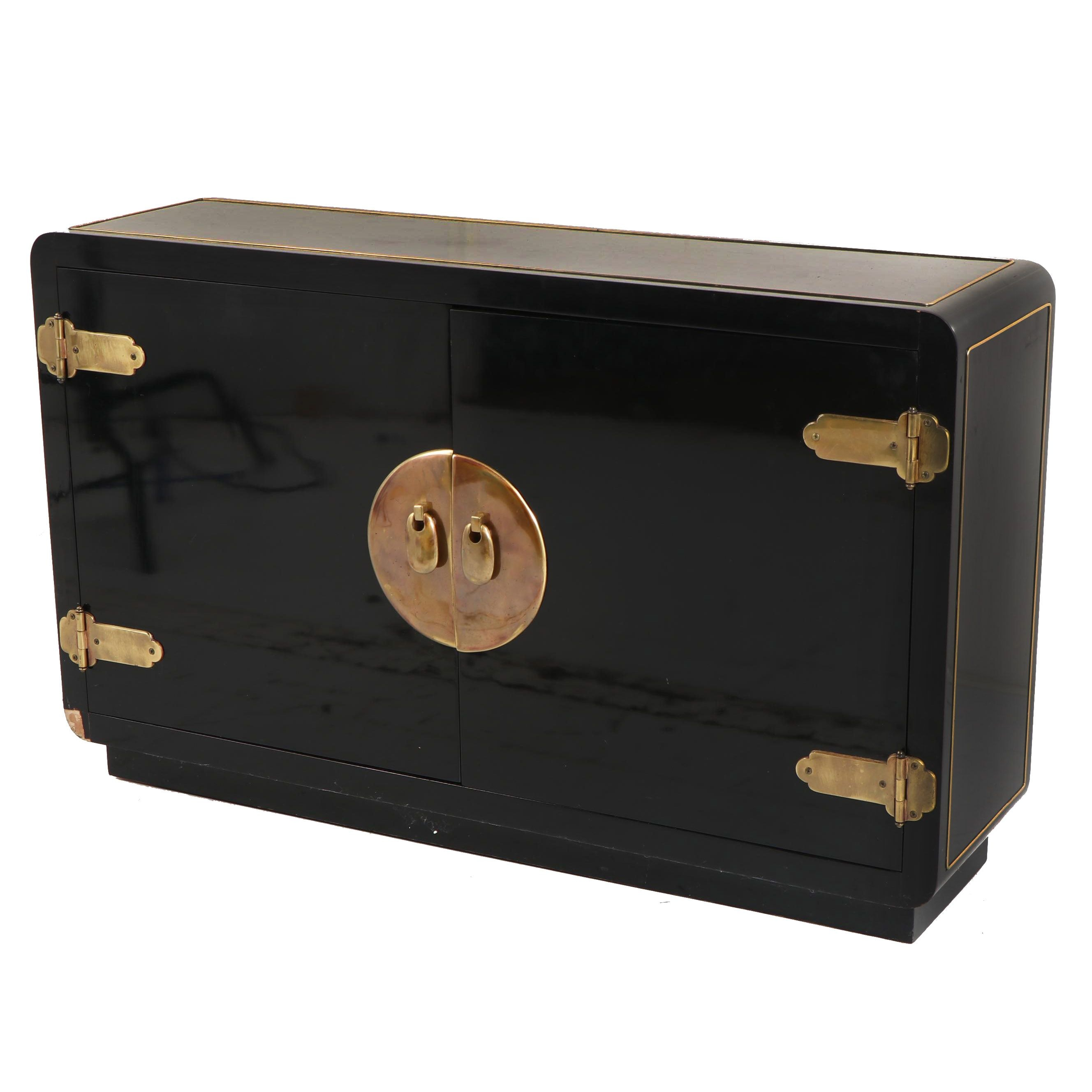 Chinese Style Black Lacquered Cabinet, Mid/Late 20th Century