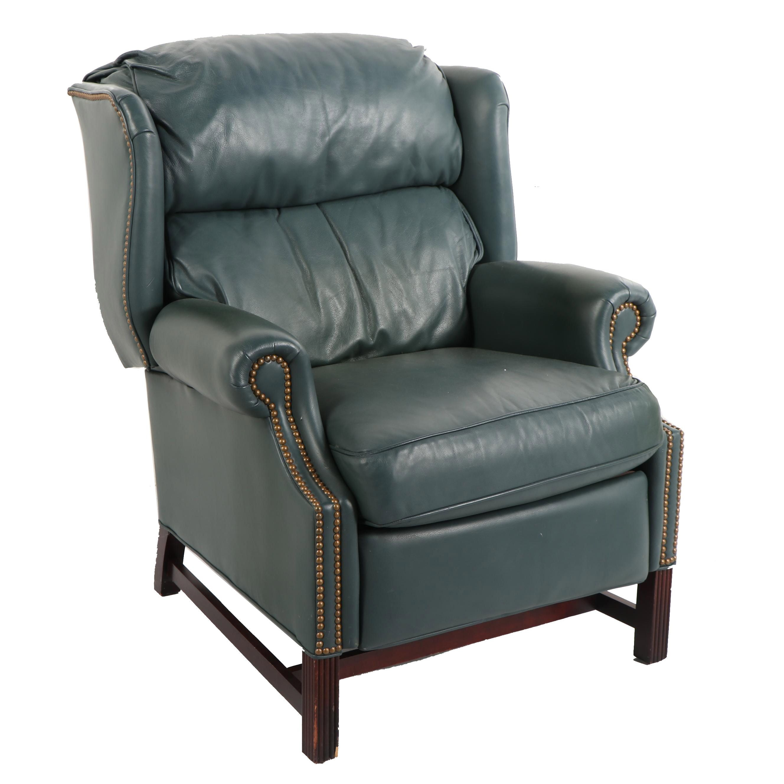 Federal Style Faux Leather Wingback Recliner, Late 20th Century