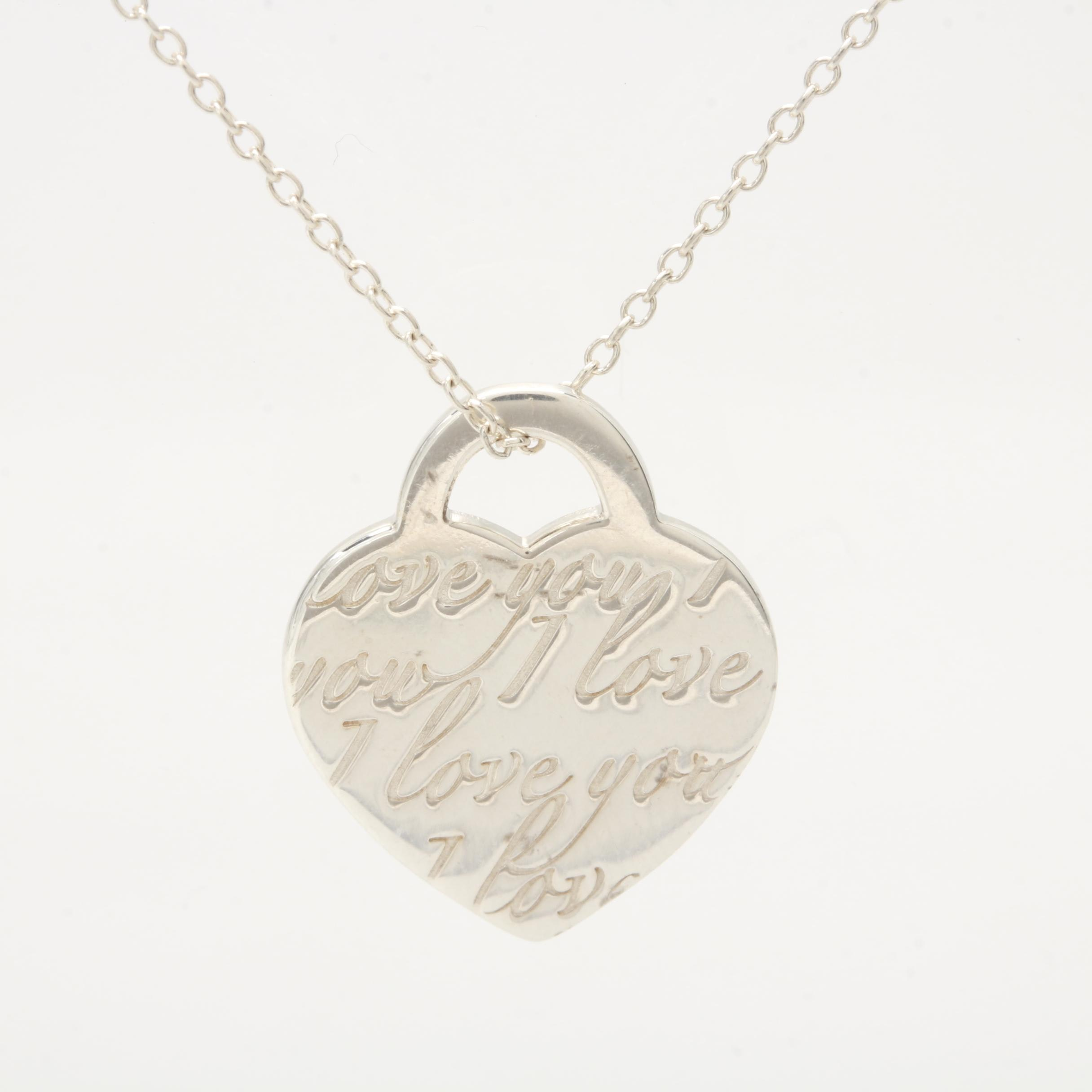 """Tiffany & Co. """"Notes Collection"""" Heart Tag Necklace"""