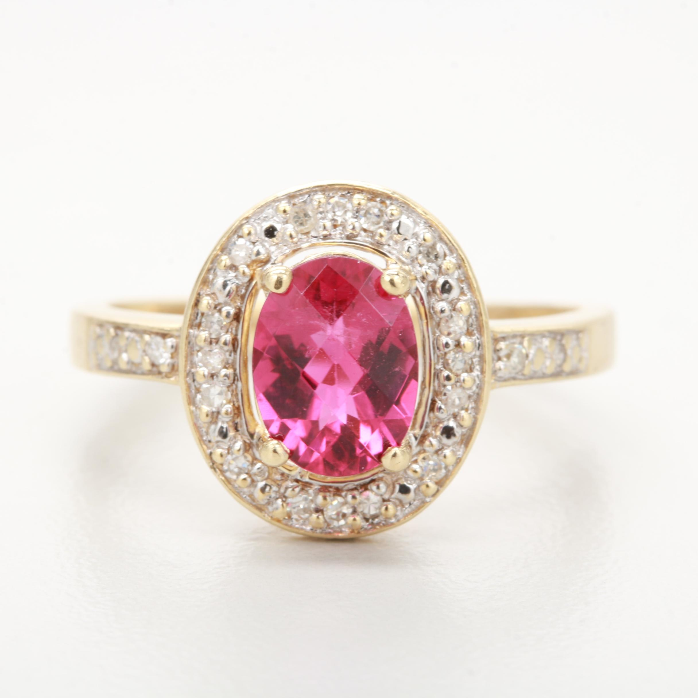 14K Yellow Gold Rubellite and Diamond Ring