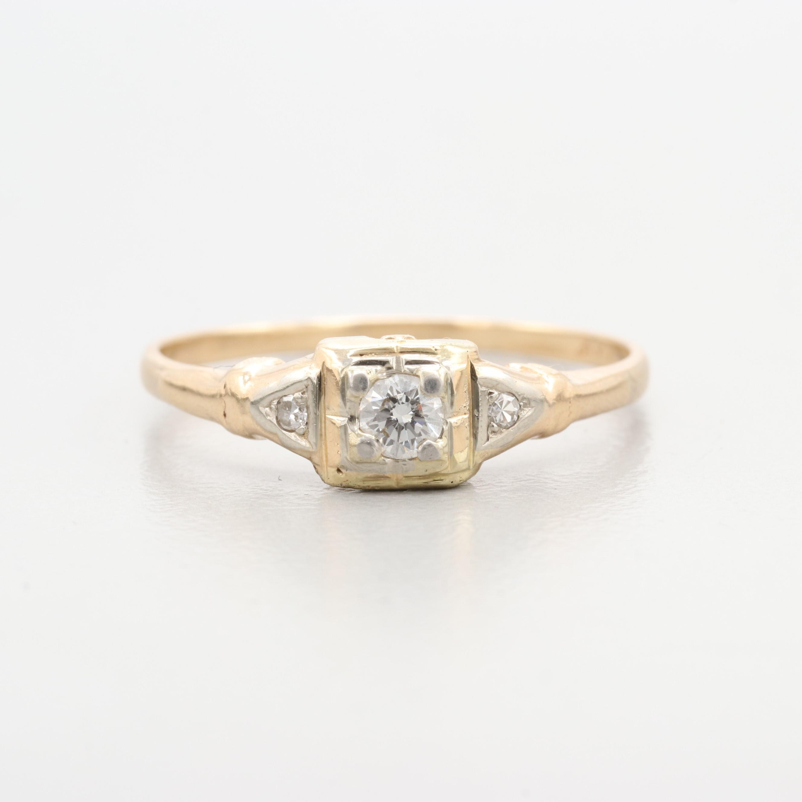 Vintage 14K Yellow Gold 0.13 CTW Diamond Ring