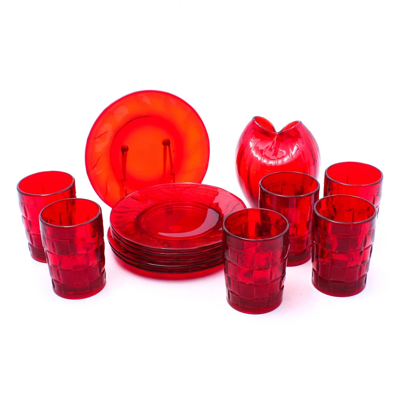 Red Glassware Featuring Fostoria
