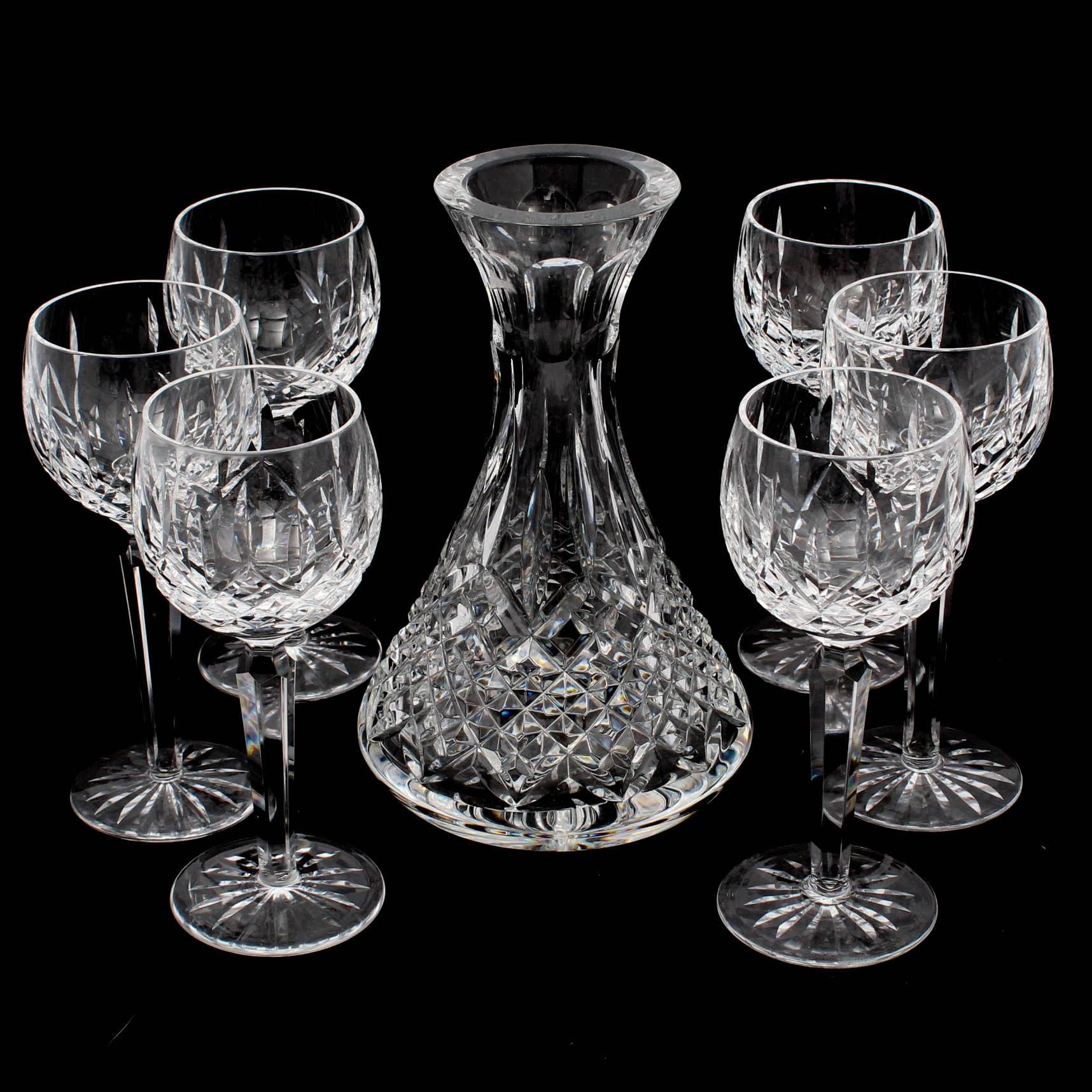 "Waterford Crystal ""Lismore"" Hock Wine Glasses and Carafe"