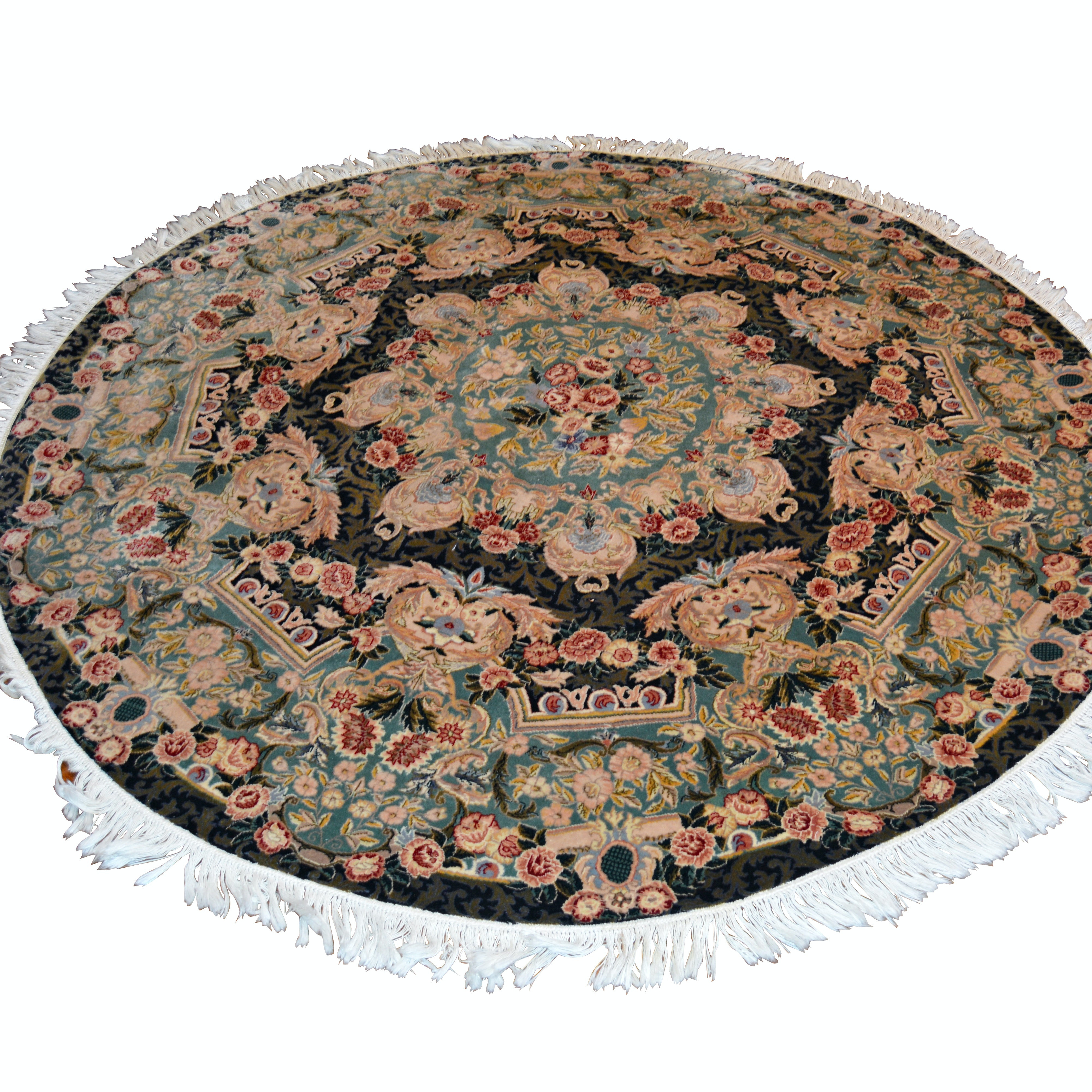 Hand-Knotted Pakistan Round Wool Area Rug