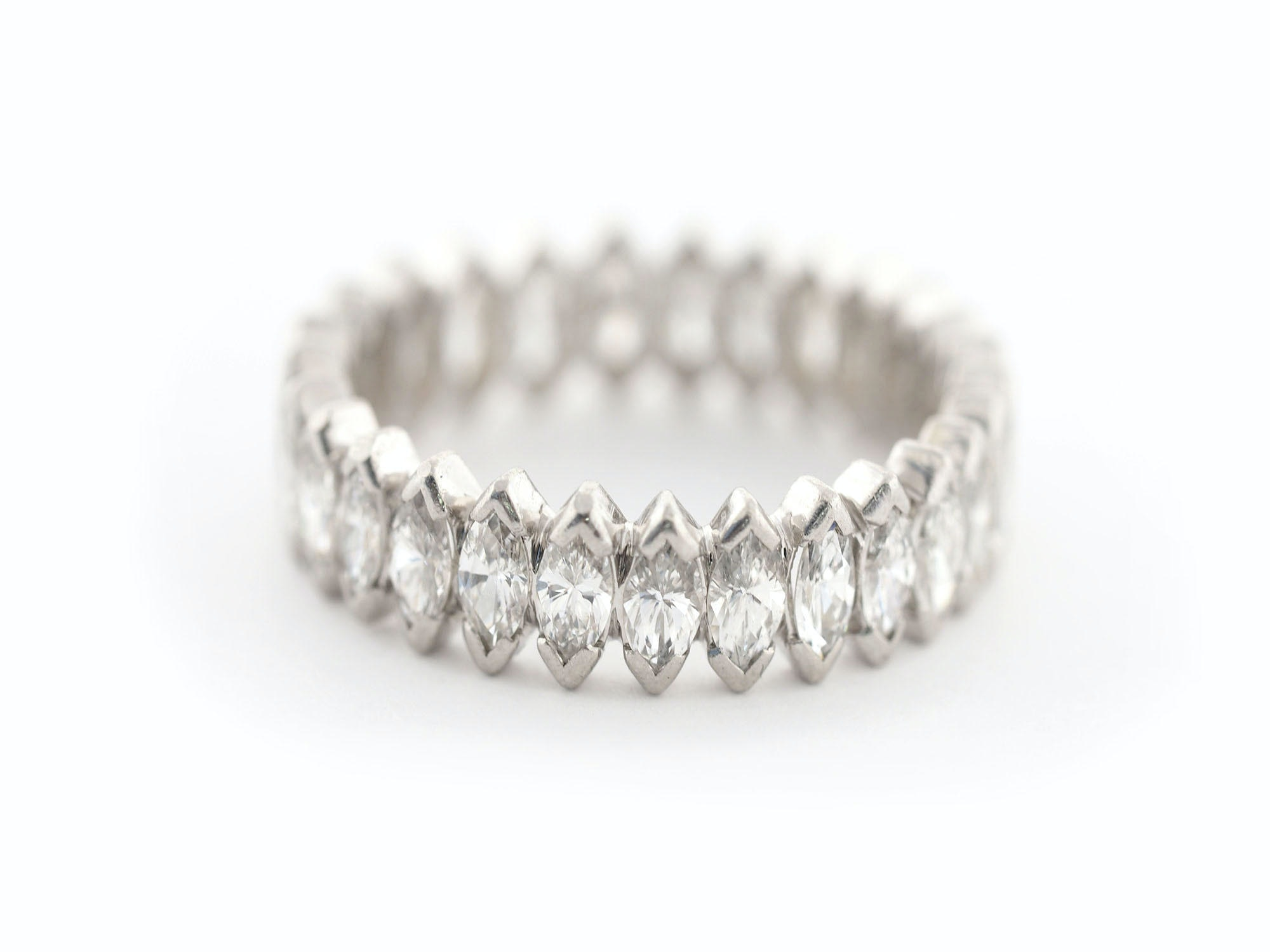 Platinum 2.25 CTW Marquise Cut Diamond Eternity Ring