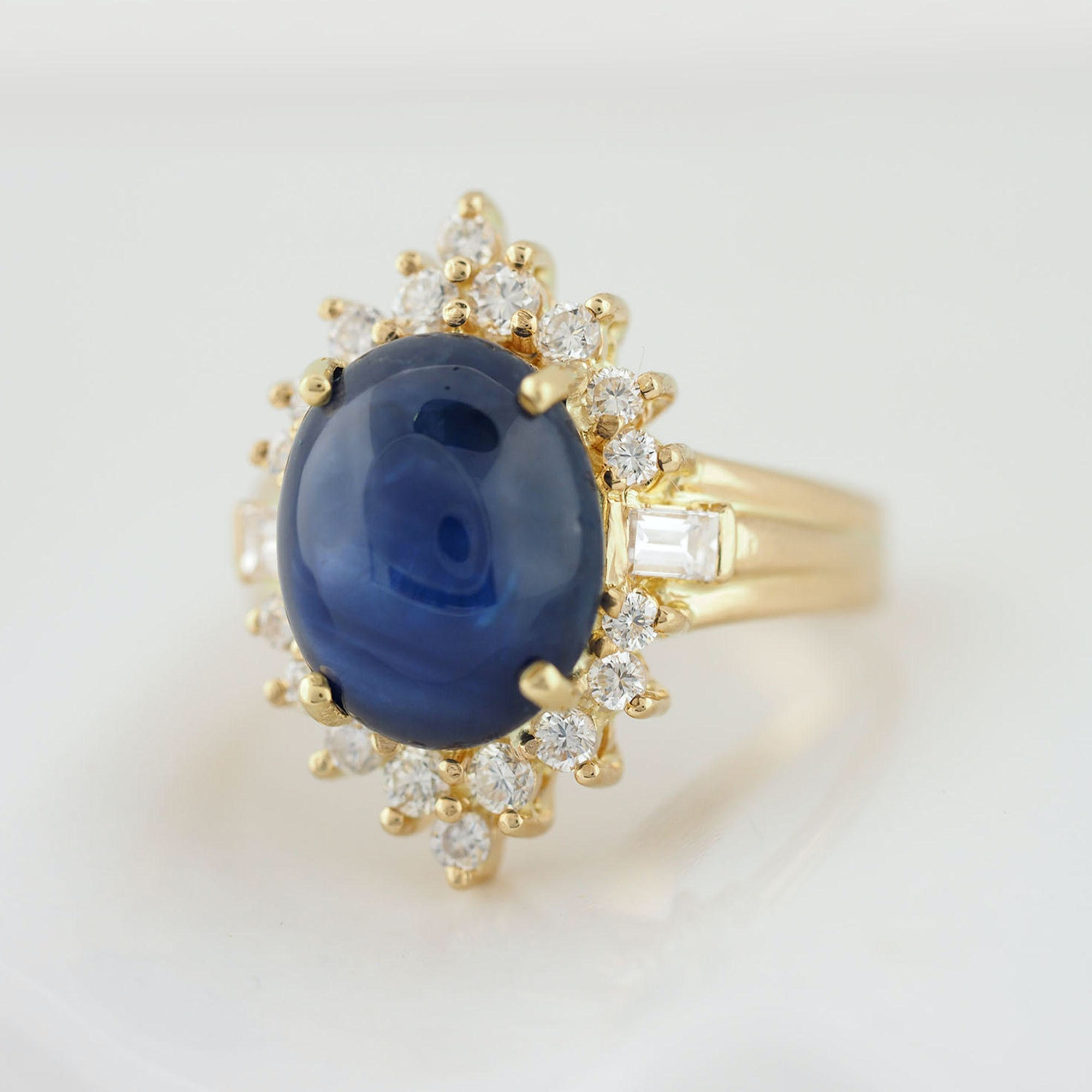18K Yellow Gold 6.90 CT Sapphire and Diamond Ring