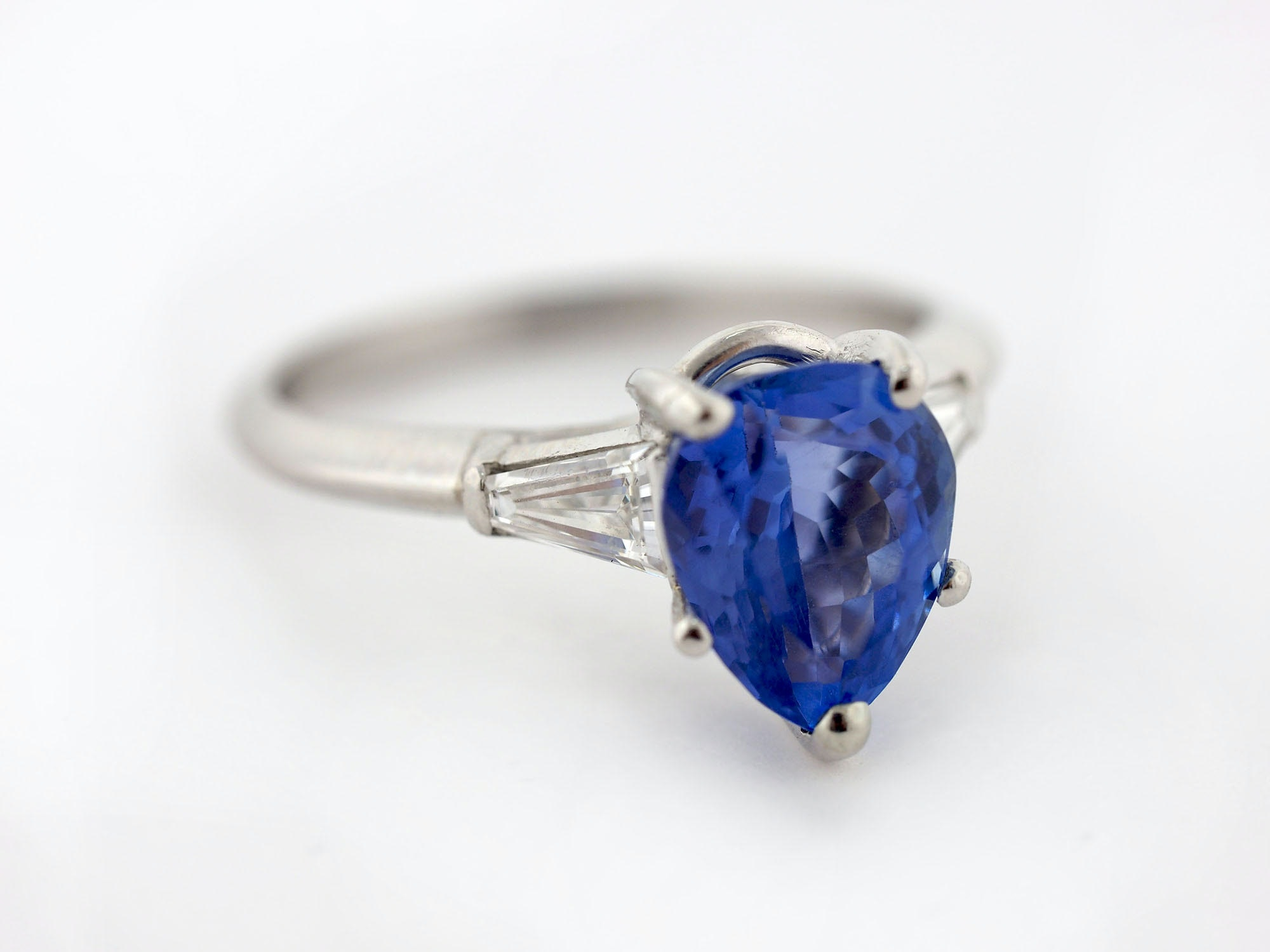 Platinum 2.85 CT Tanzanite and Diamond Ring