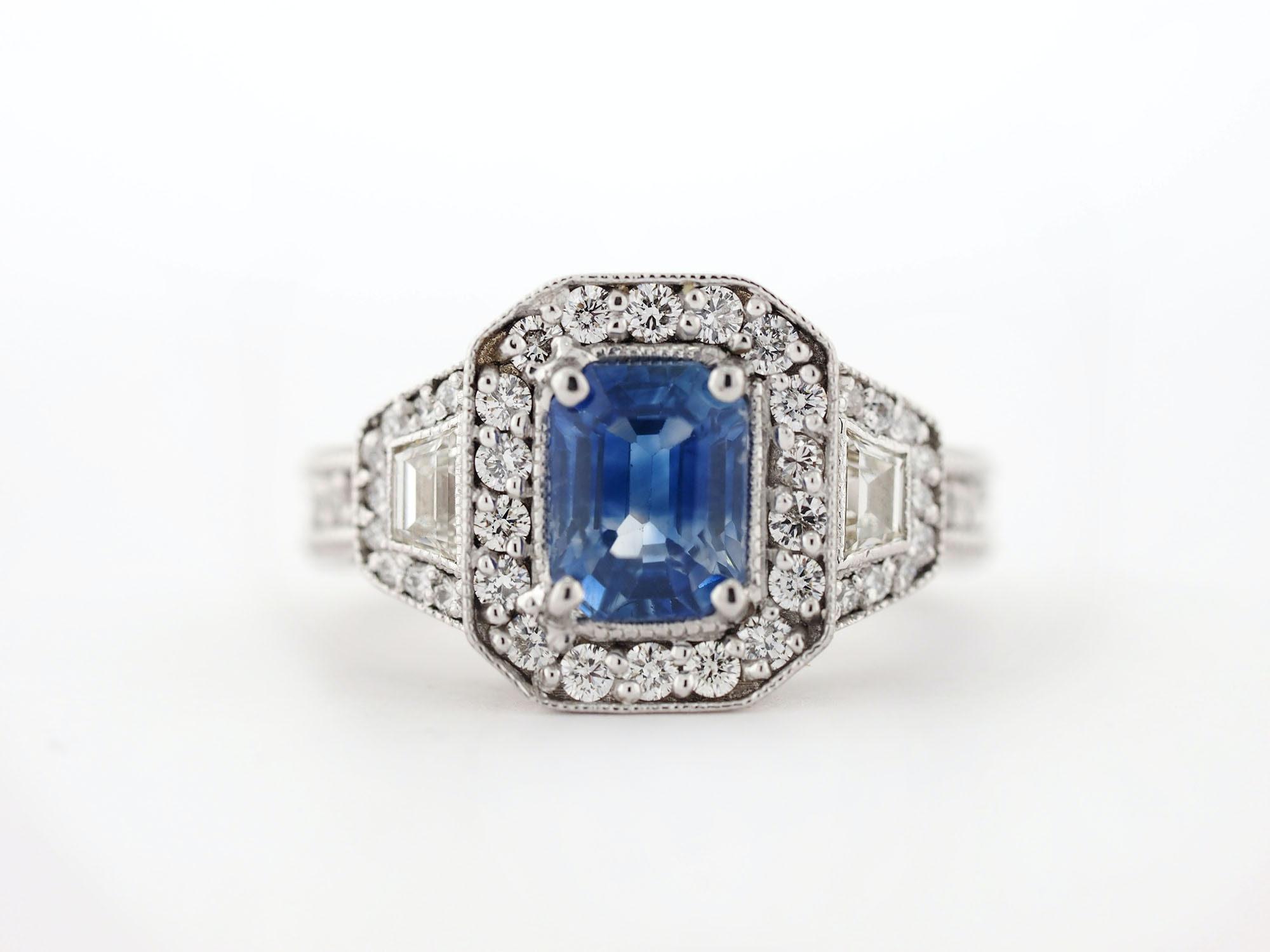 18K White Gold 1.95 CT Sapphire and 2.10 CTW Diamond Ring