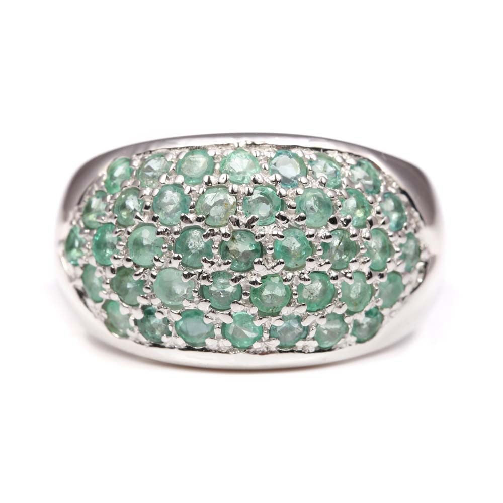 Sterling Silver 2.00 CTW Emerald Ring