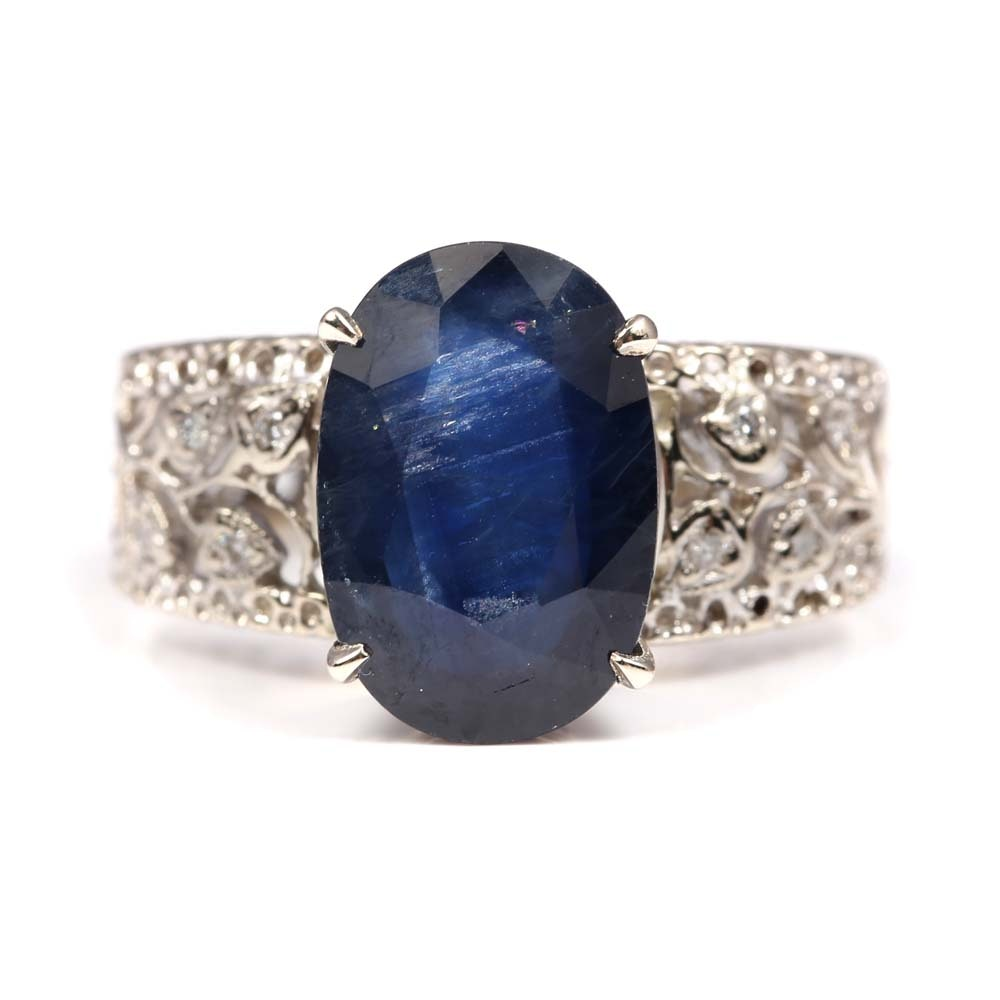 18K White Gold 6.42 CT Sapphire and Diamond Ring